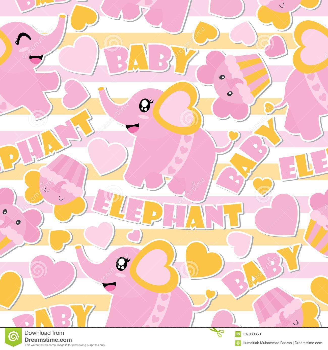 seamless pattern of cute baby elephant and cupcakes on striped