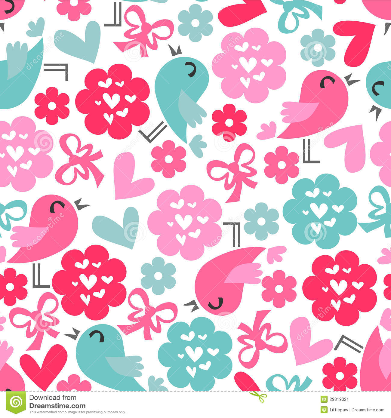 Download Seamless Pattern With Birds And Hearts Stock Vector - Illustration of sweet, romance: 29819021