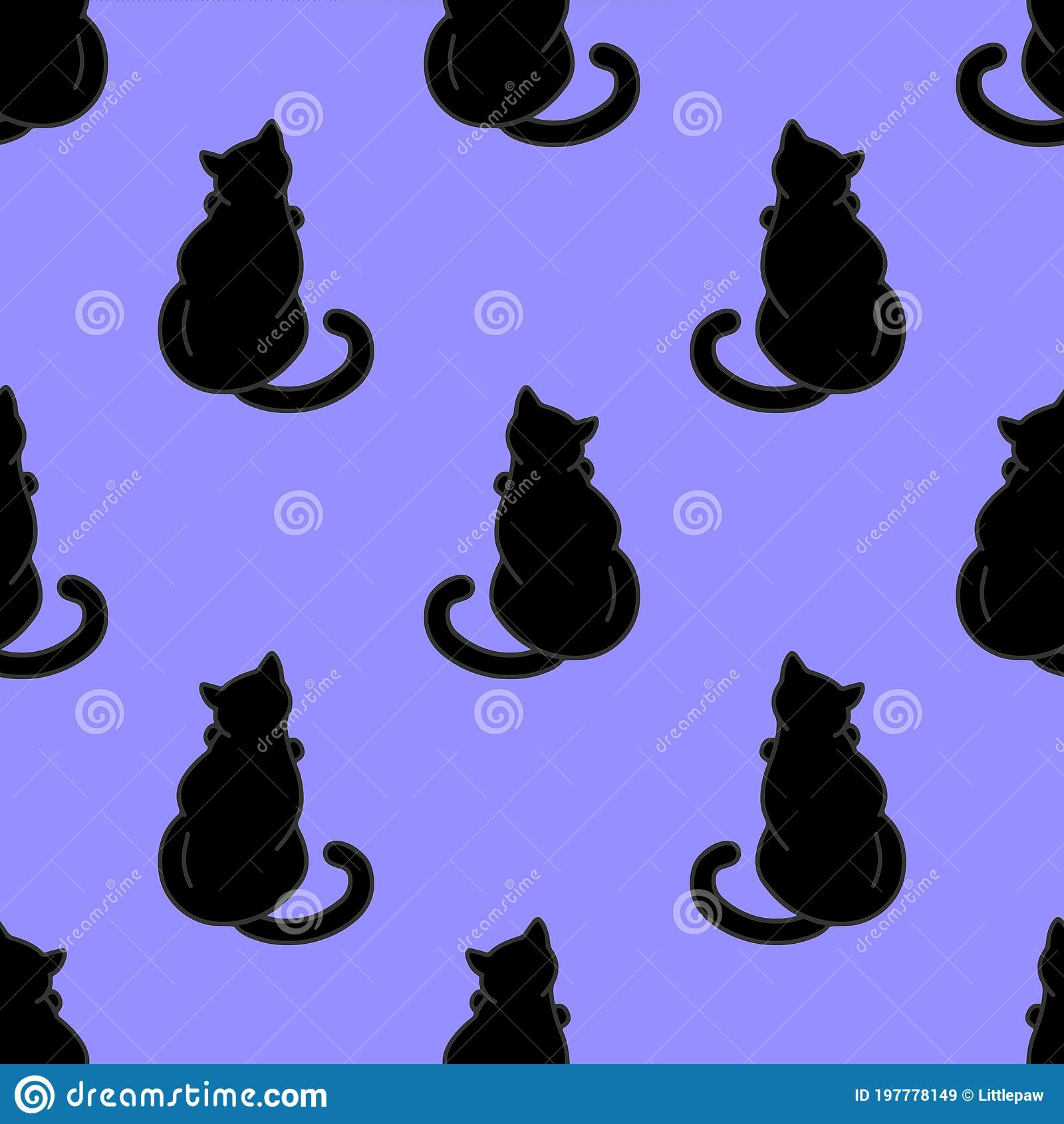 seamless pattern cute black cats texture wallpapers stationery fabric wrap web page backgrounds vector illustration 197778149