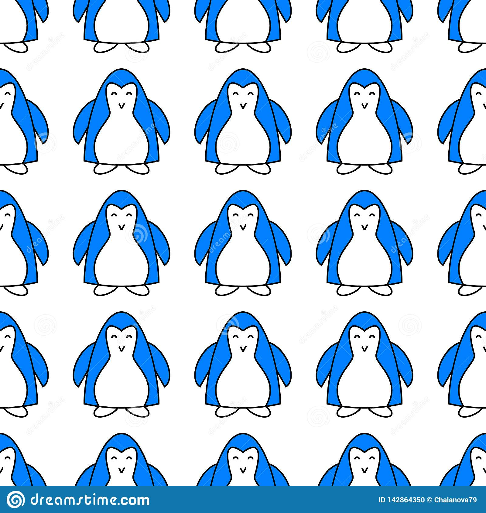 Seamless Pattern With Cute Blue Penguin Animal Endless
