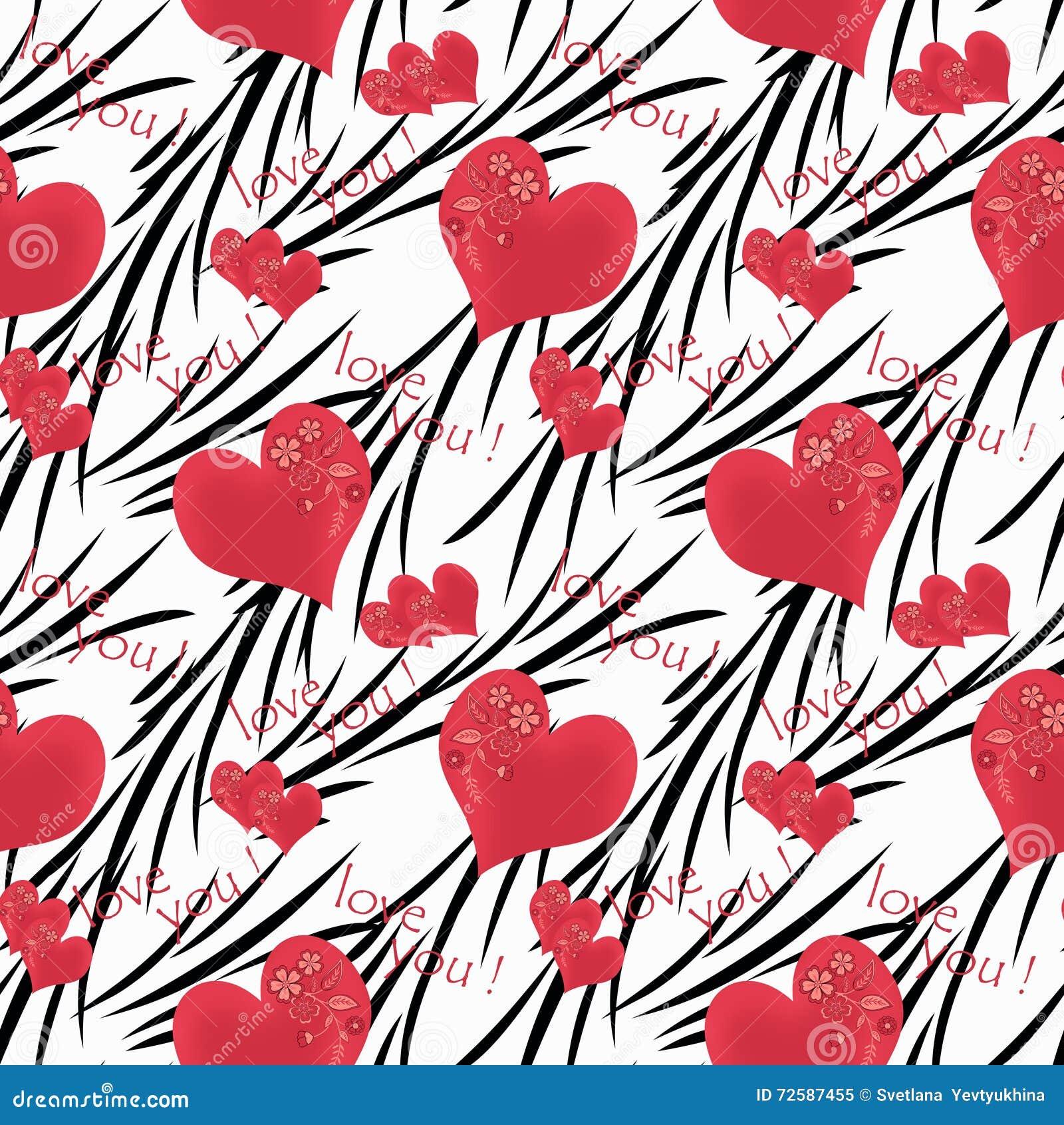 Seamless Pattern Cute Cartoon Flowers Hearts White Background