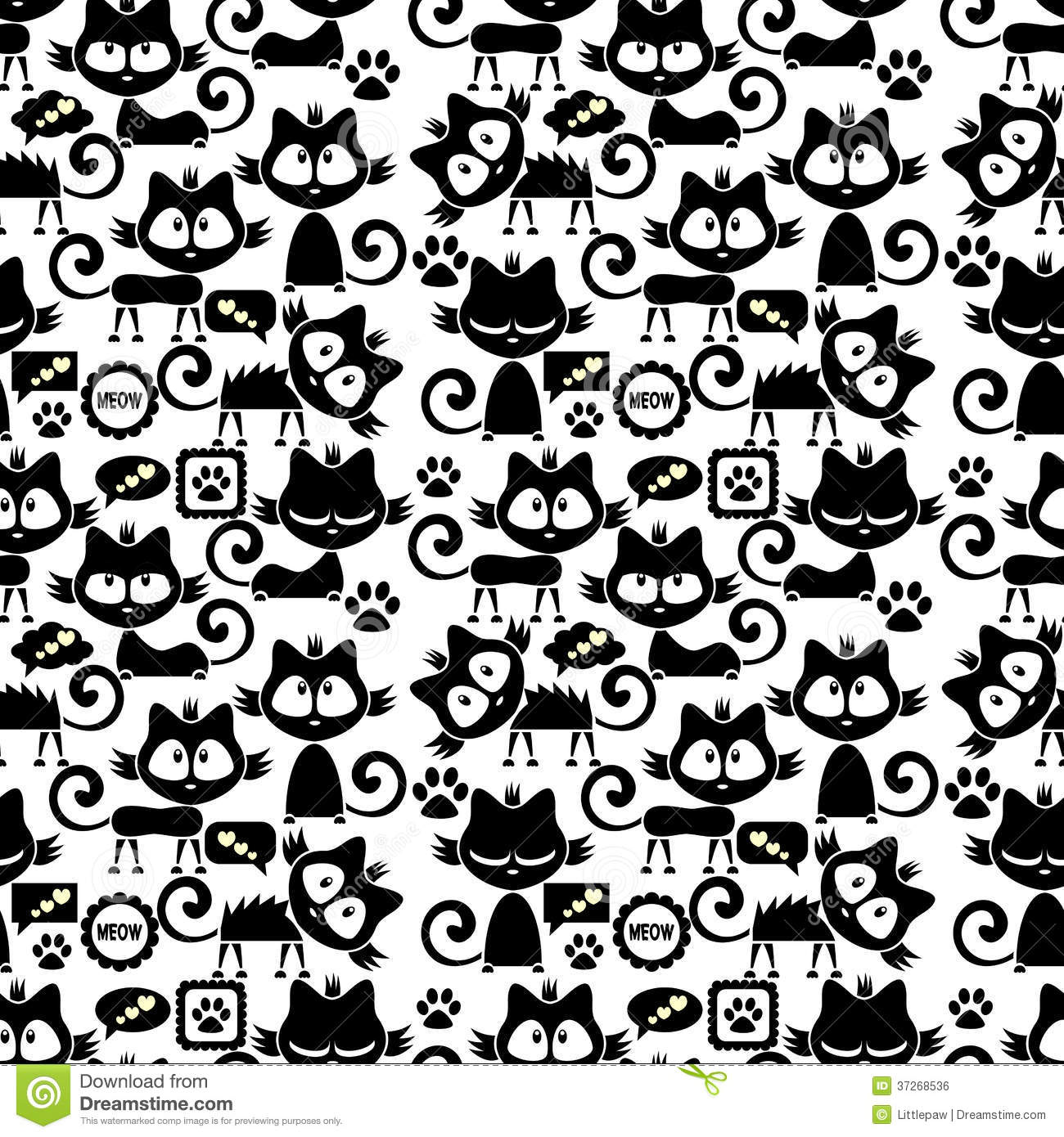 Seamless Pattern With Cute Cartoon Kittens Royalty Free Stock Image ...