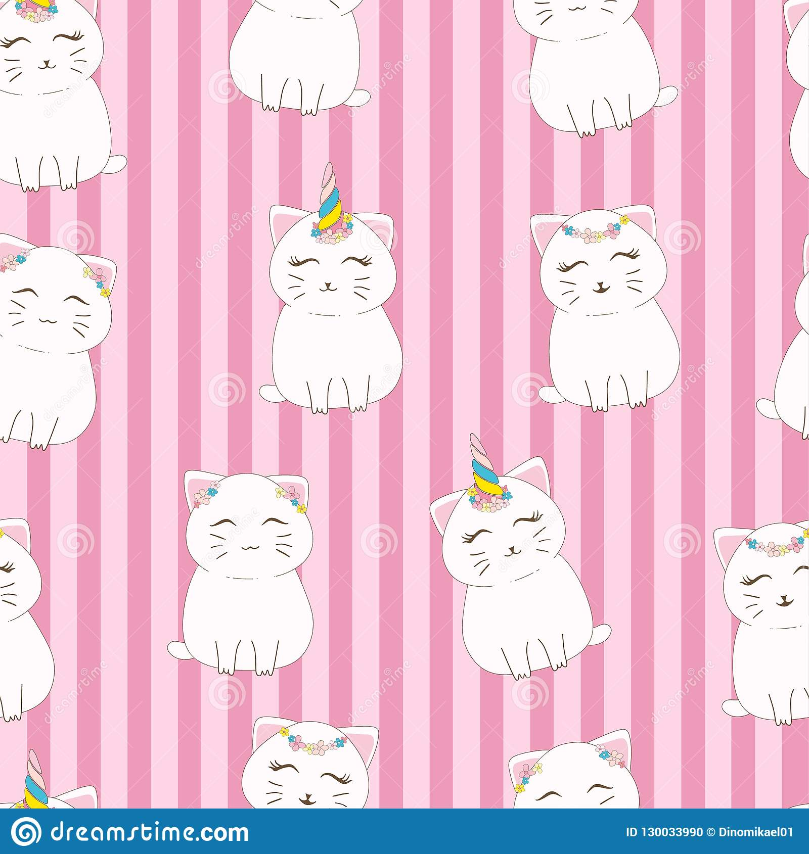 Seamless pattern cute cat with unicorn horn and flower crown