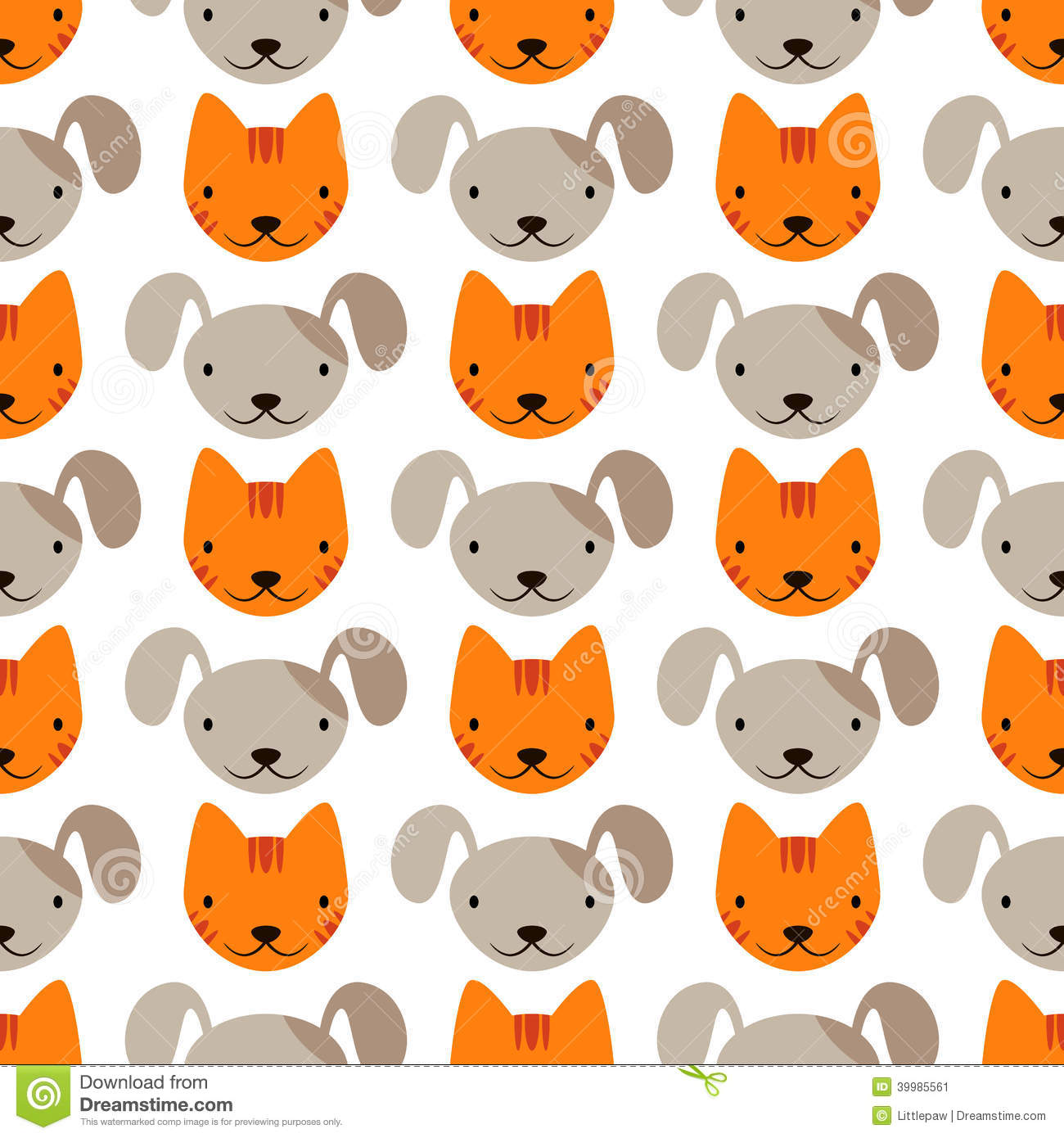 Seamless Pattern With Cute Cats And Dogs Illustration