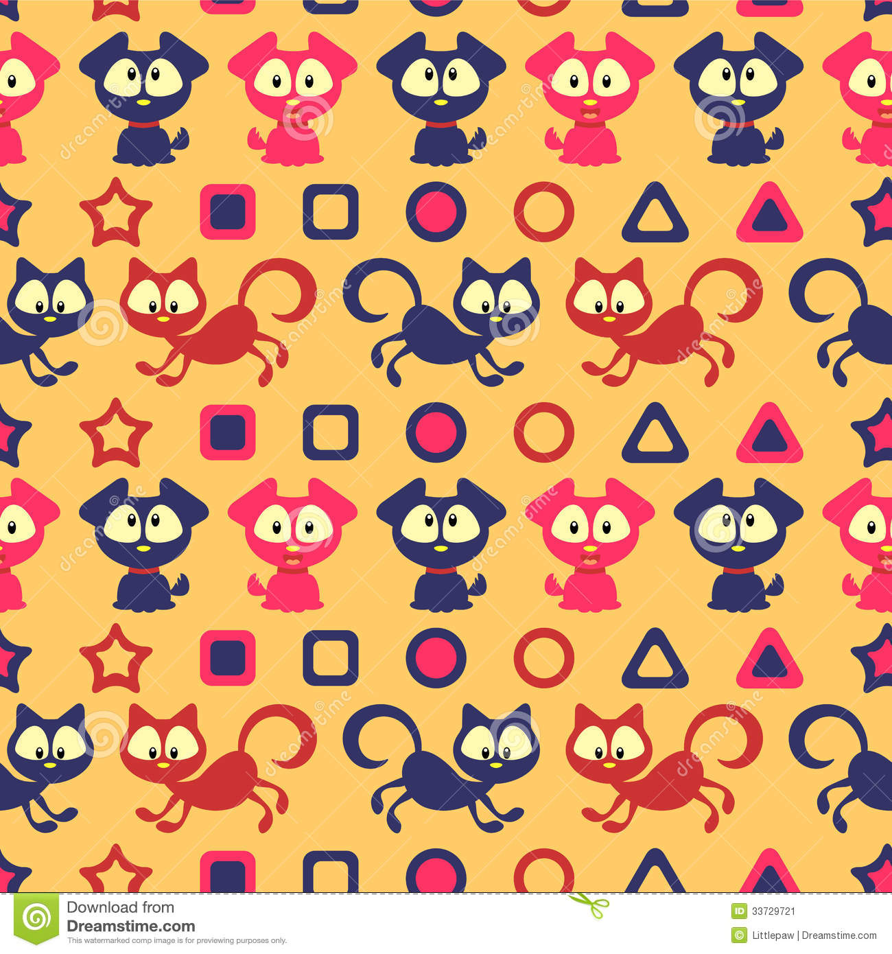 Seamless Pattern With Cute Cats And Dogs Stock Vector