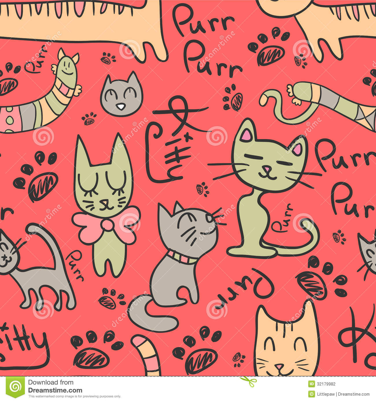 Seamless Pattern With Cute Cats Stock Vector - Image: 32179982