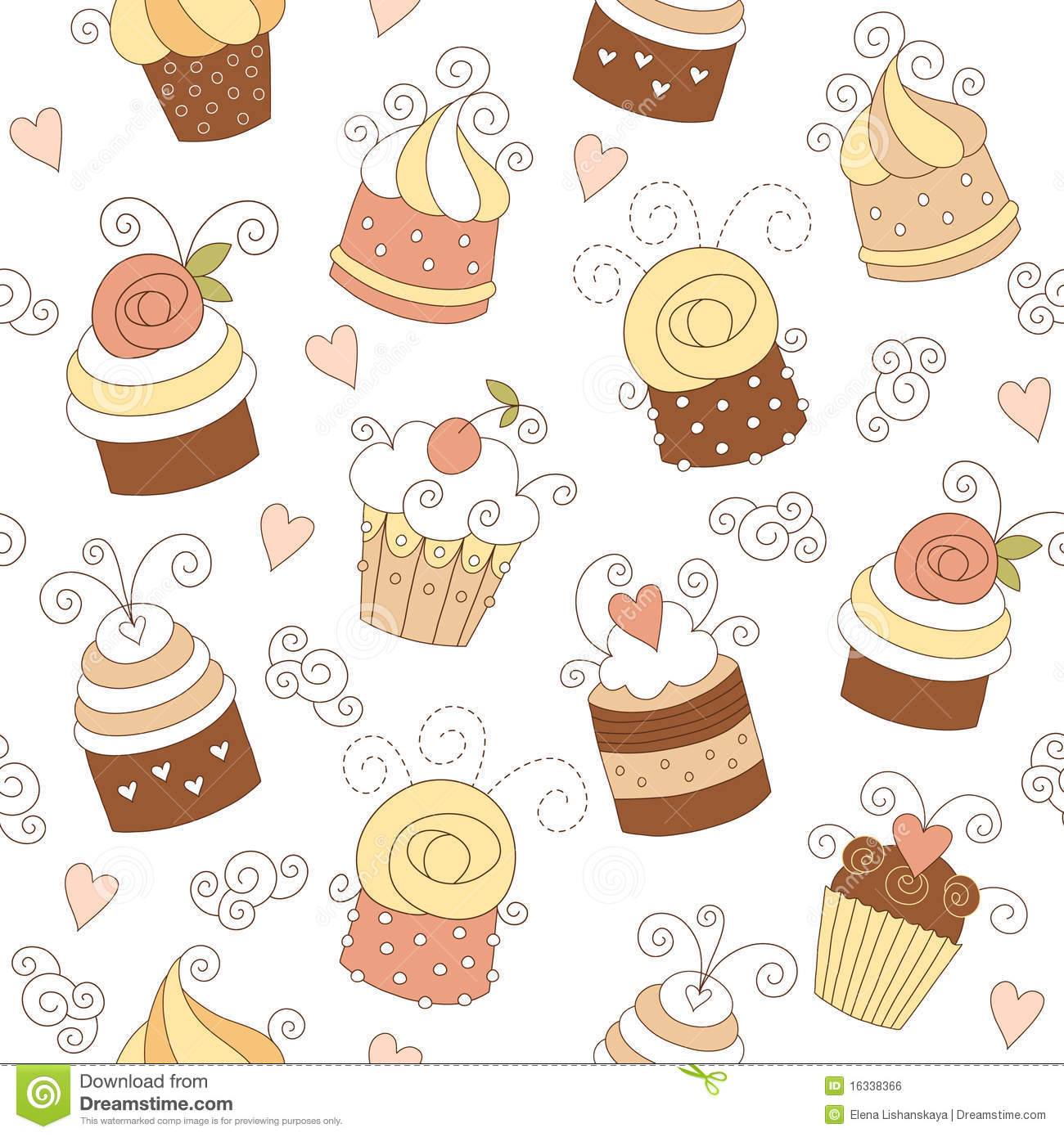Seamless pattern with cute cupcakes