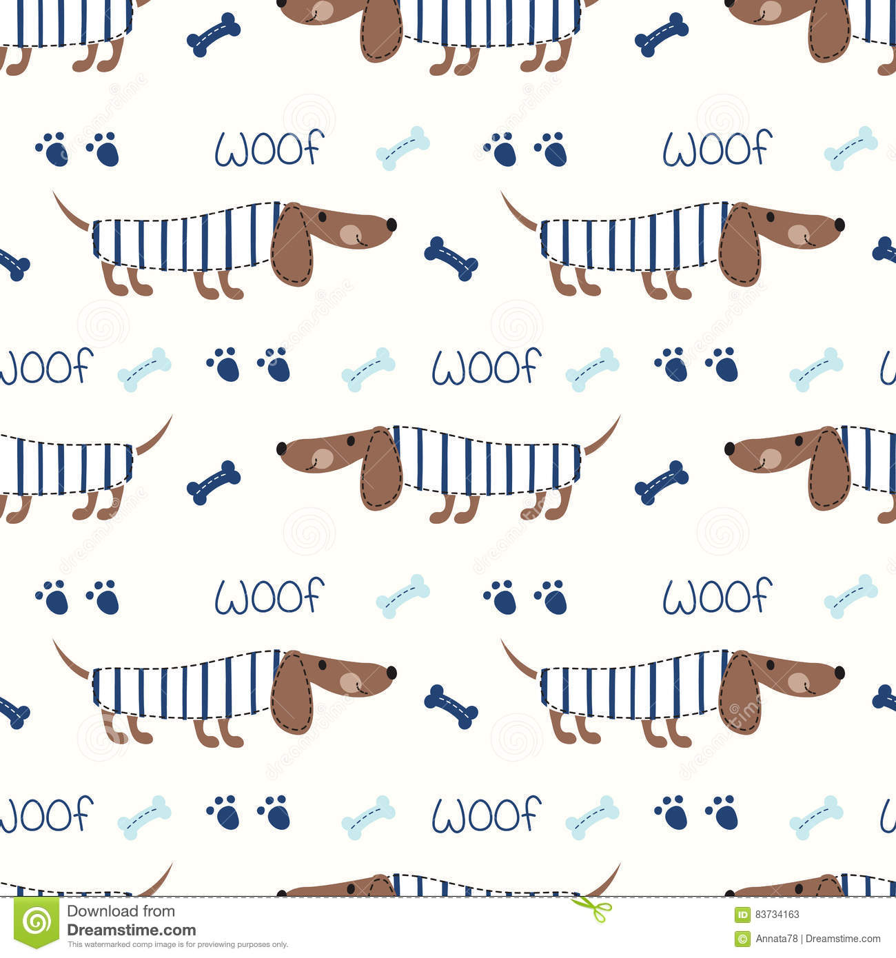 Scrapbook paper dogs - Seamless Pattern With Cute Dogs And Bones