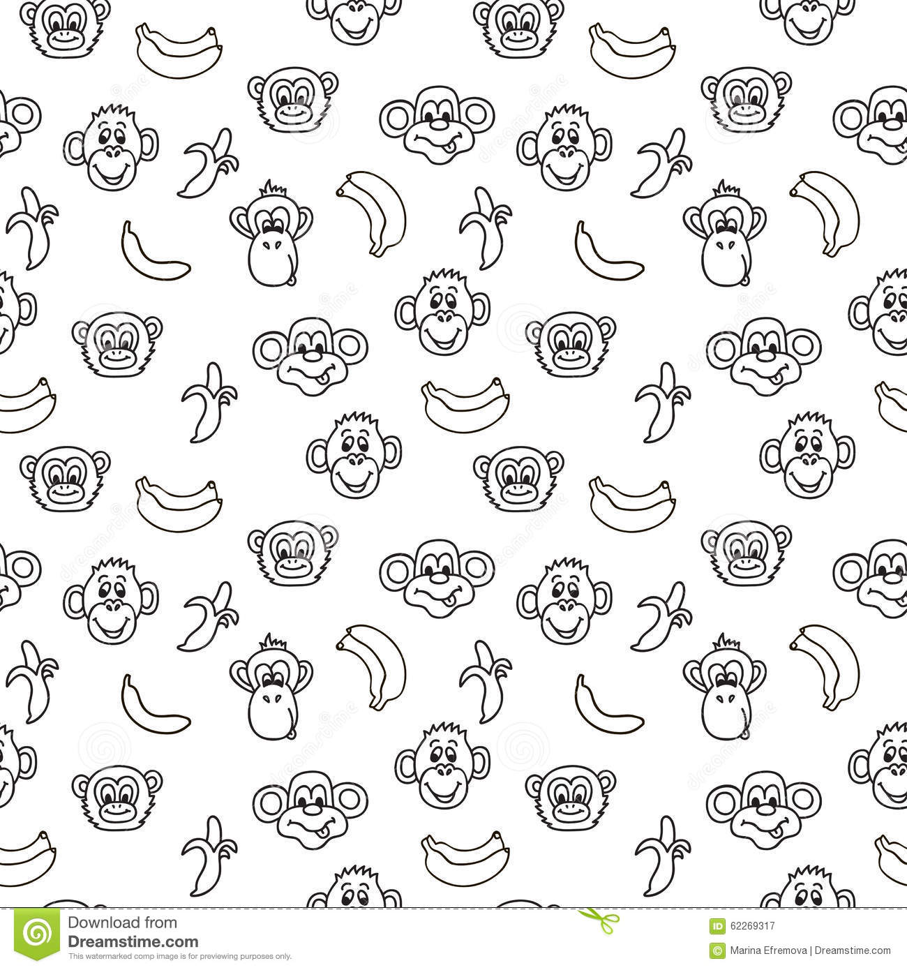 Seamless Pattern With Cute Faces Of Monkeys And Bananas