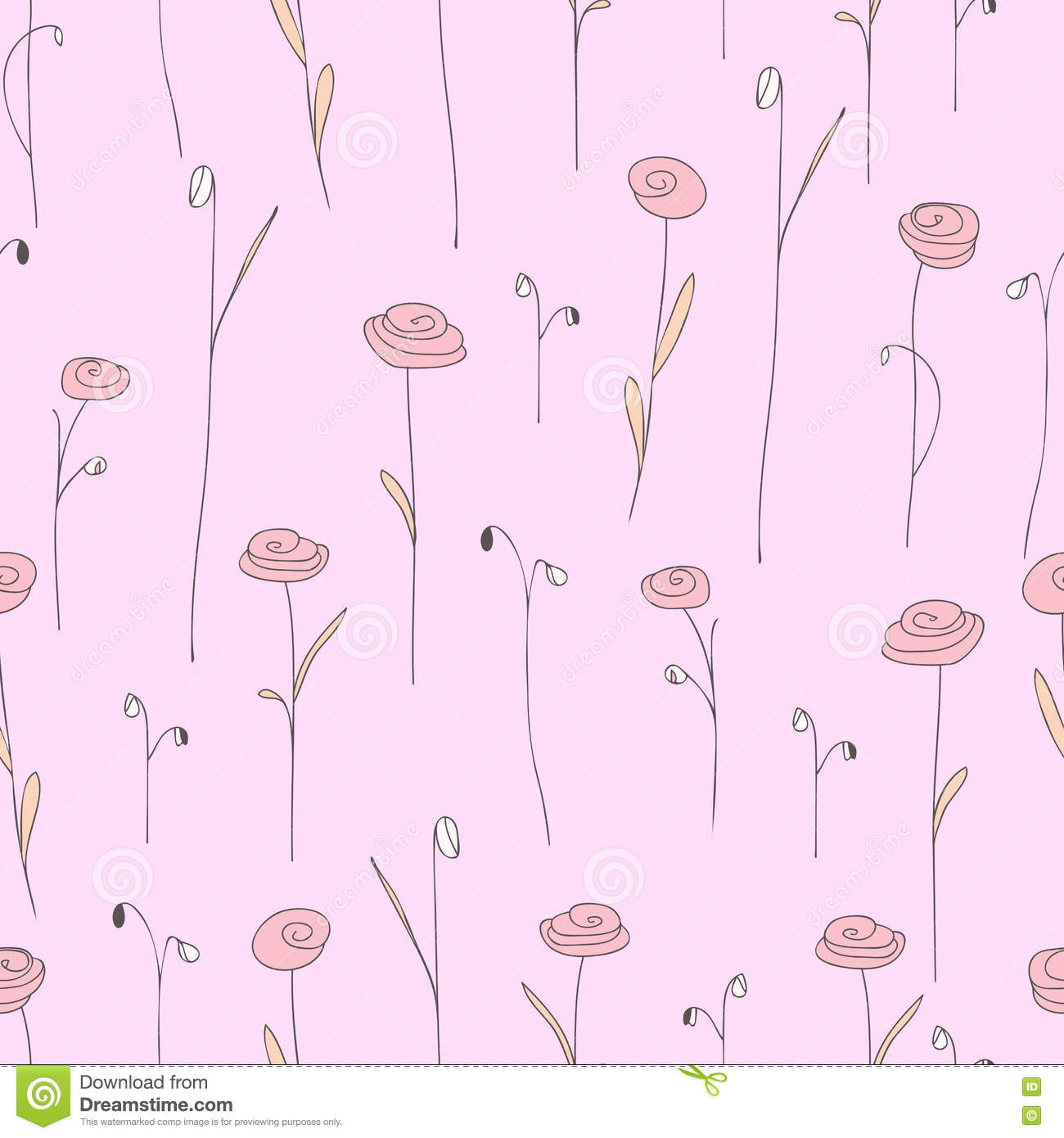 Seamless Pattern With Cute Flowers Light Pink Background With