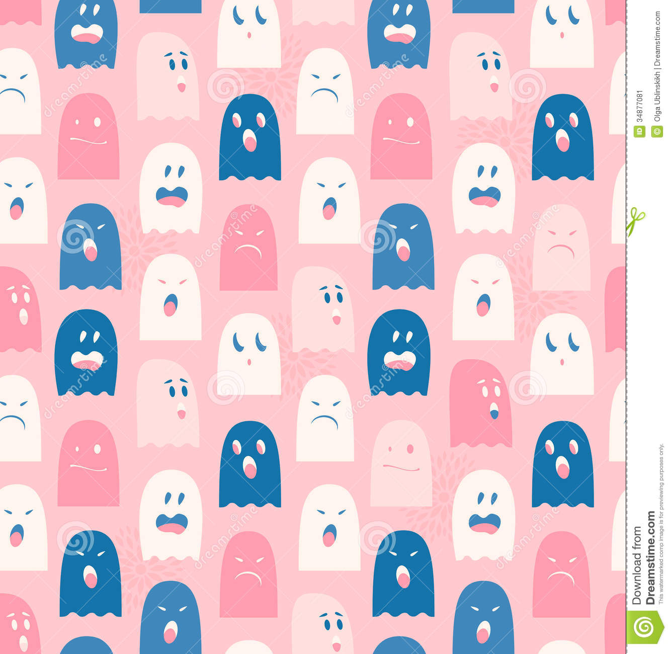 seamless pattern with cute ghosts spooks background stock
