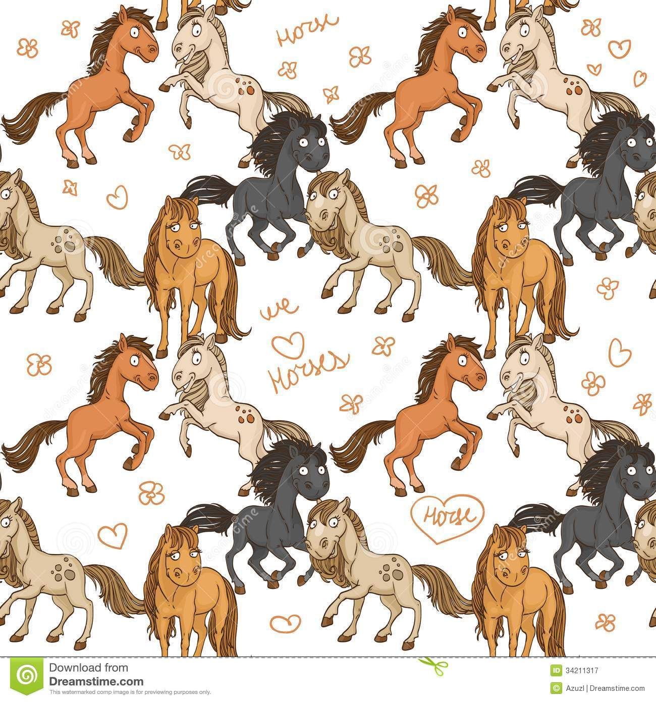 Seamless Pattern Of Cute Horses Royalty Free Stock ...