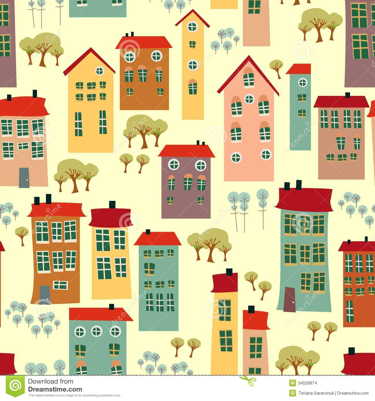 Seamless Pattern With Cute Houses Stock Images Image