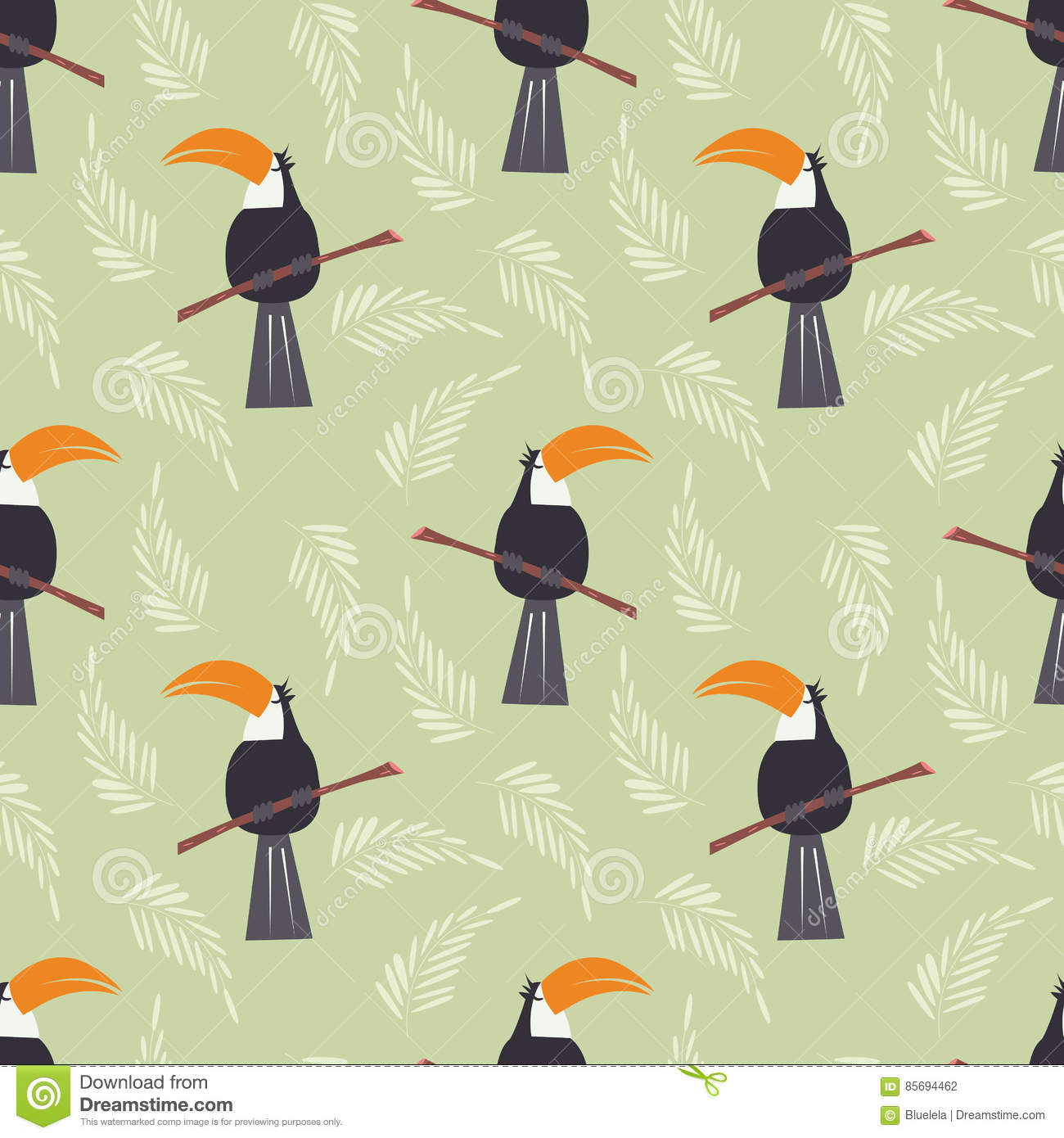 Seamless pattern with cute jungle parrot toucan on green