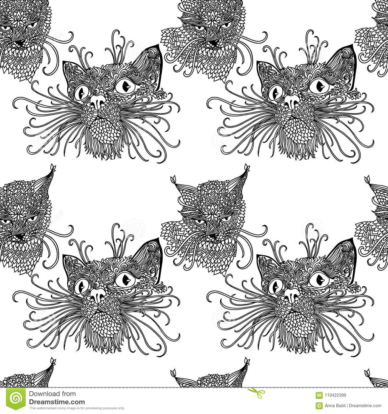 Seamless Pattern With Cute Kats. Cat Background In Mandala ...