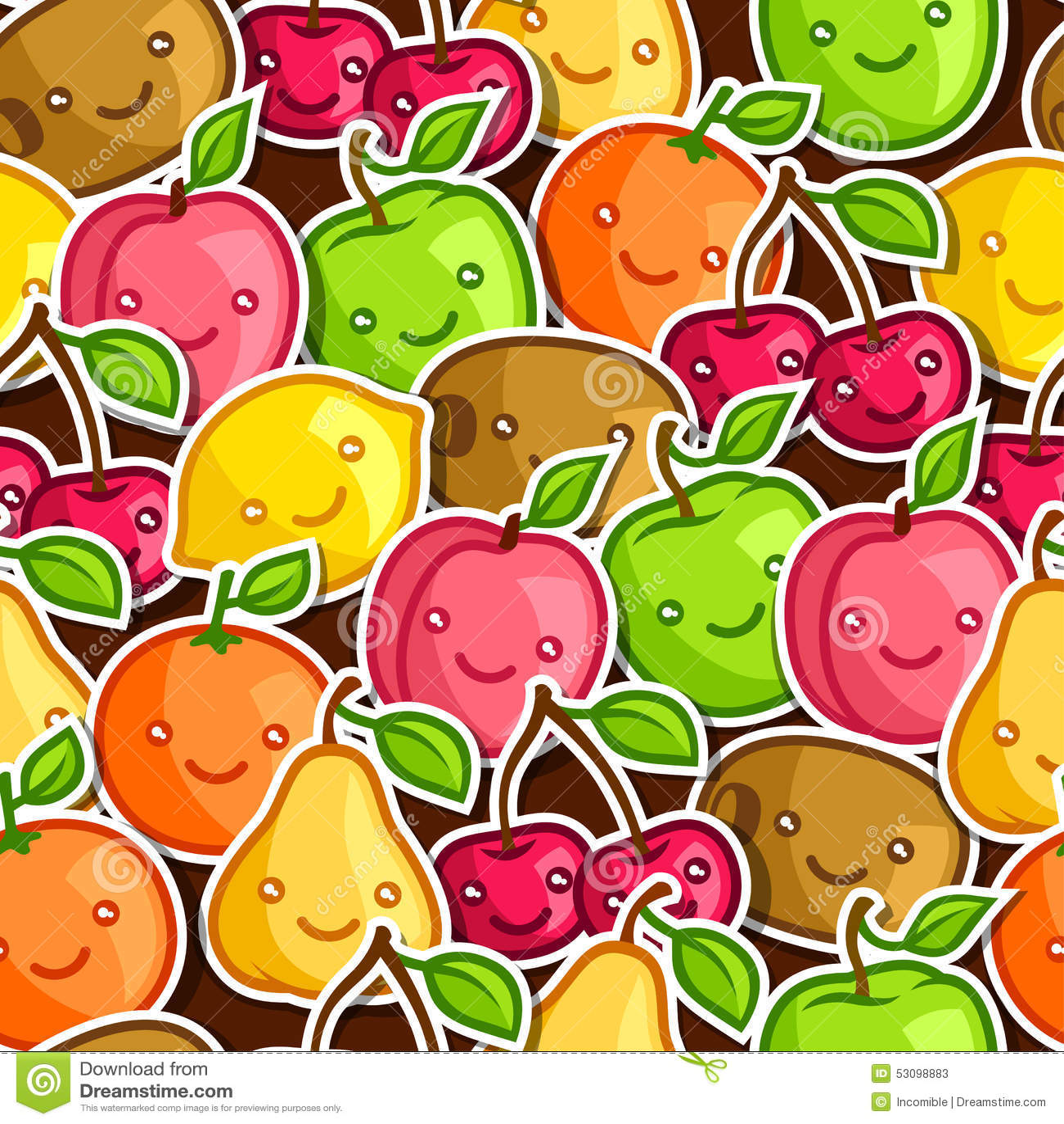 Seamless pattern with cute kawaii smiling fruits Stock Photos