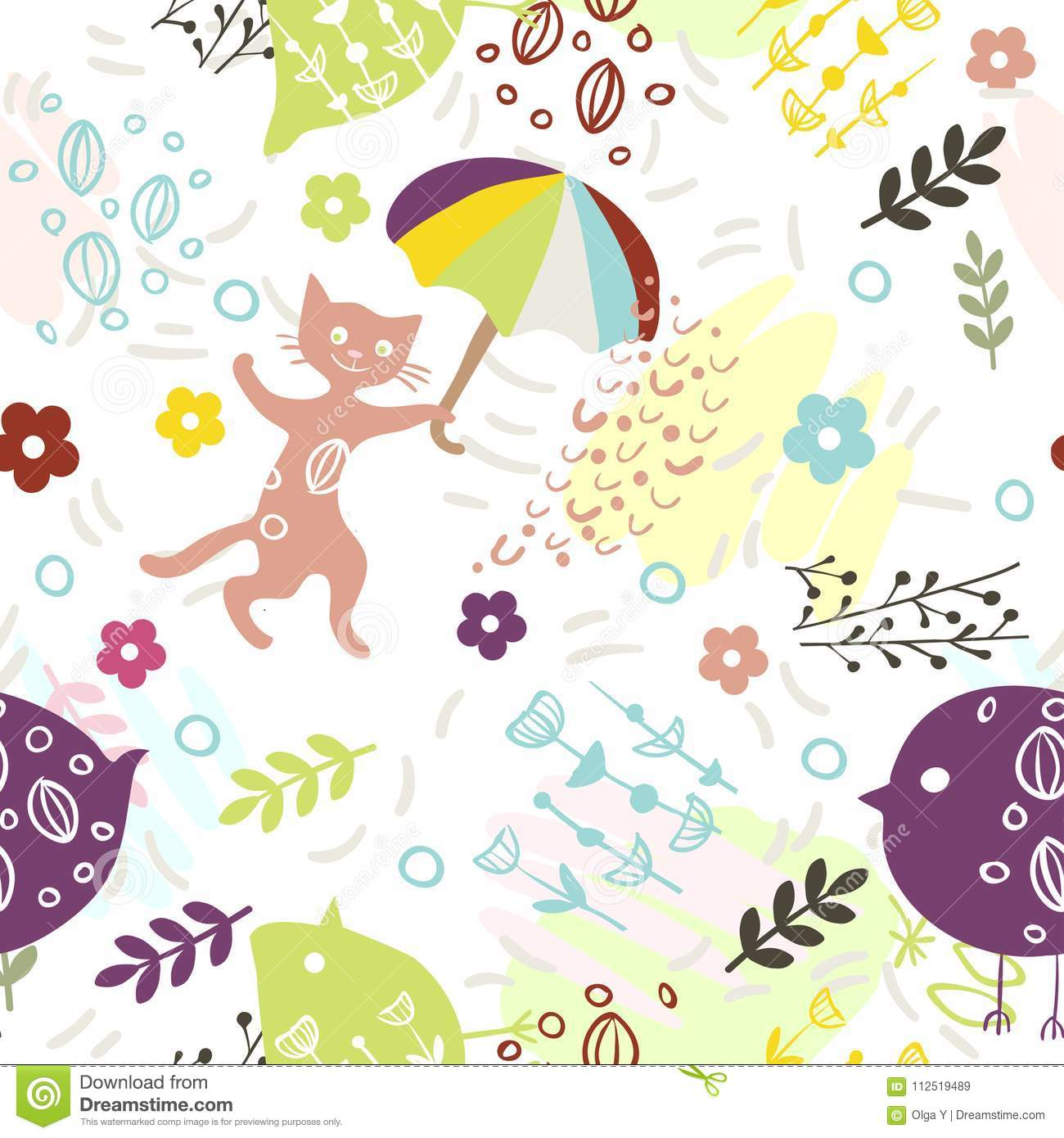 Seamless Pattern With Cute Kitty Birds Umbrella And Flowers On White Background Print