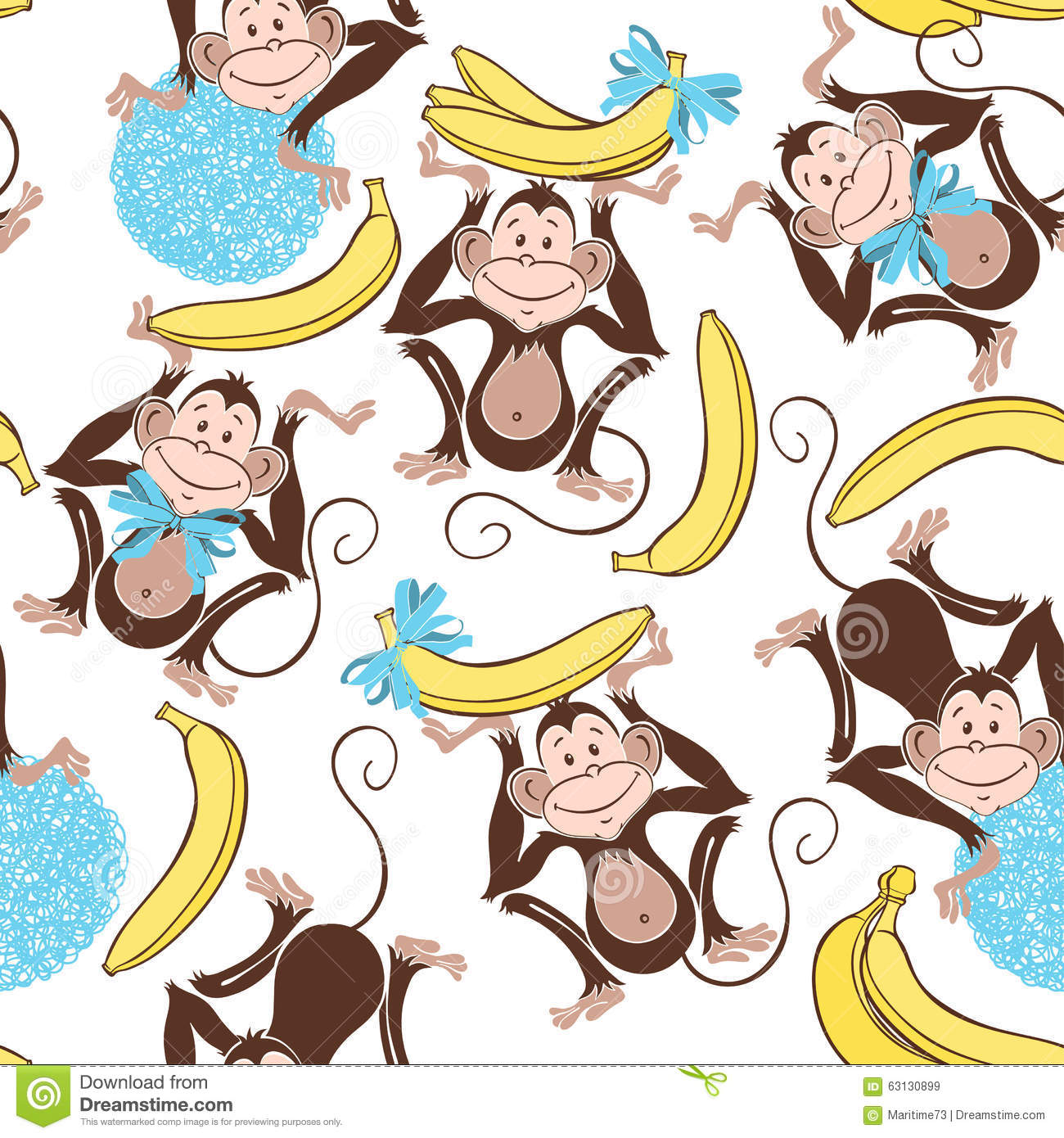 Seamless Pattern With Cute Monkeys And Bananas. Cartoon ...