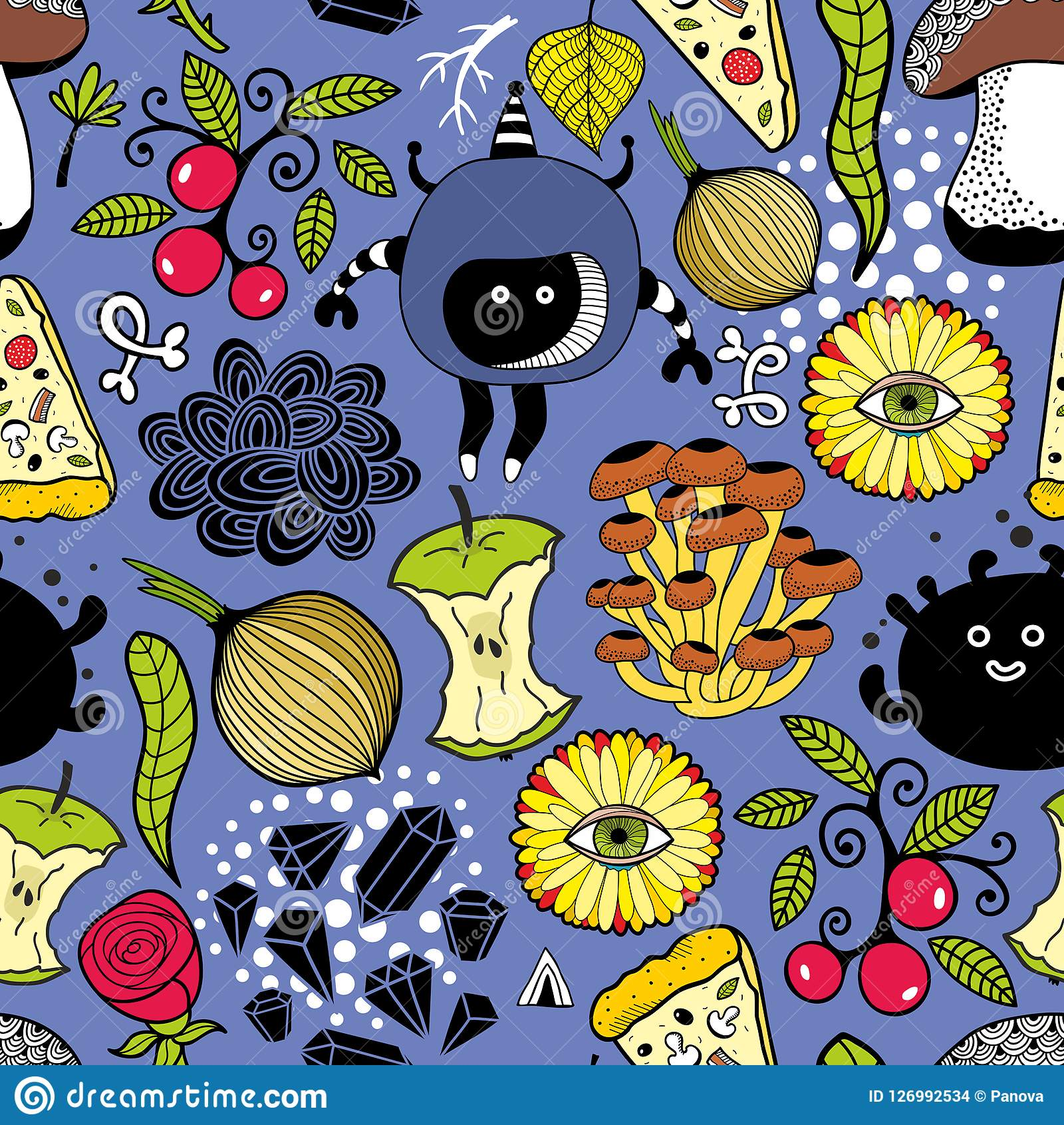 seamless pattern with cute monsters and food stock vectorseamless pattern with cute monsters and food