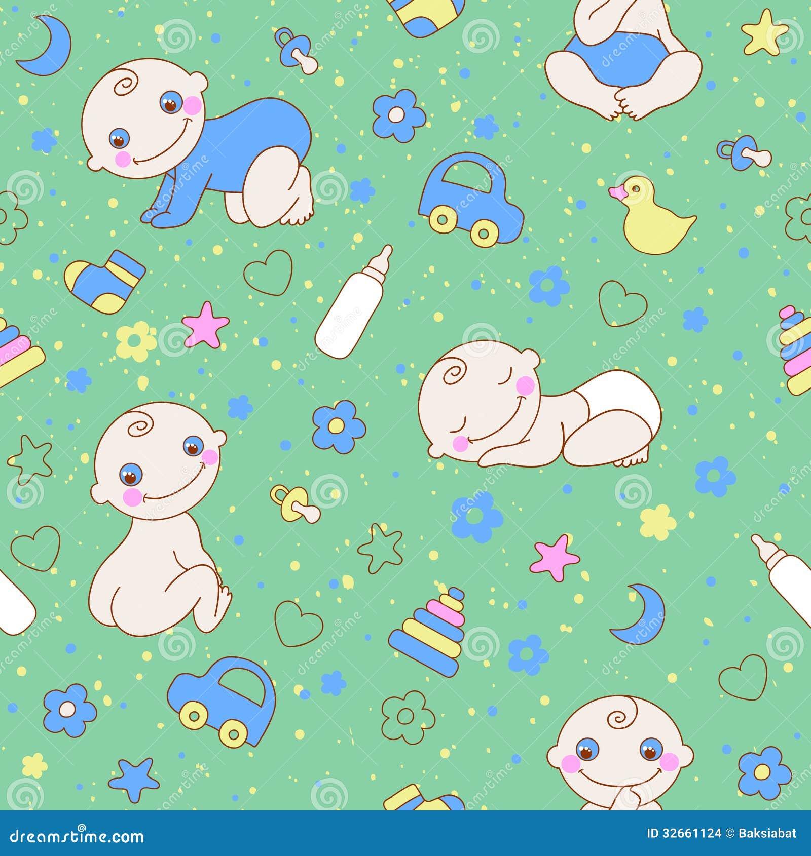 Seamless Pattern With Cute Newborn Baby Boy