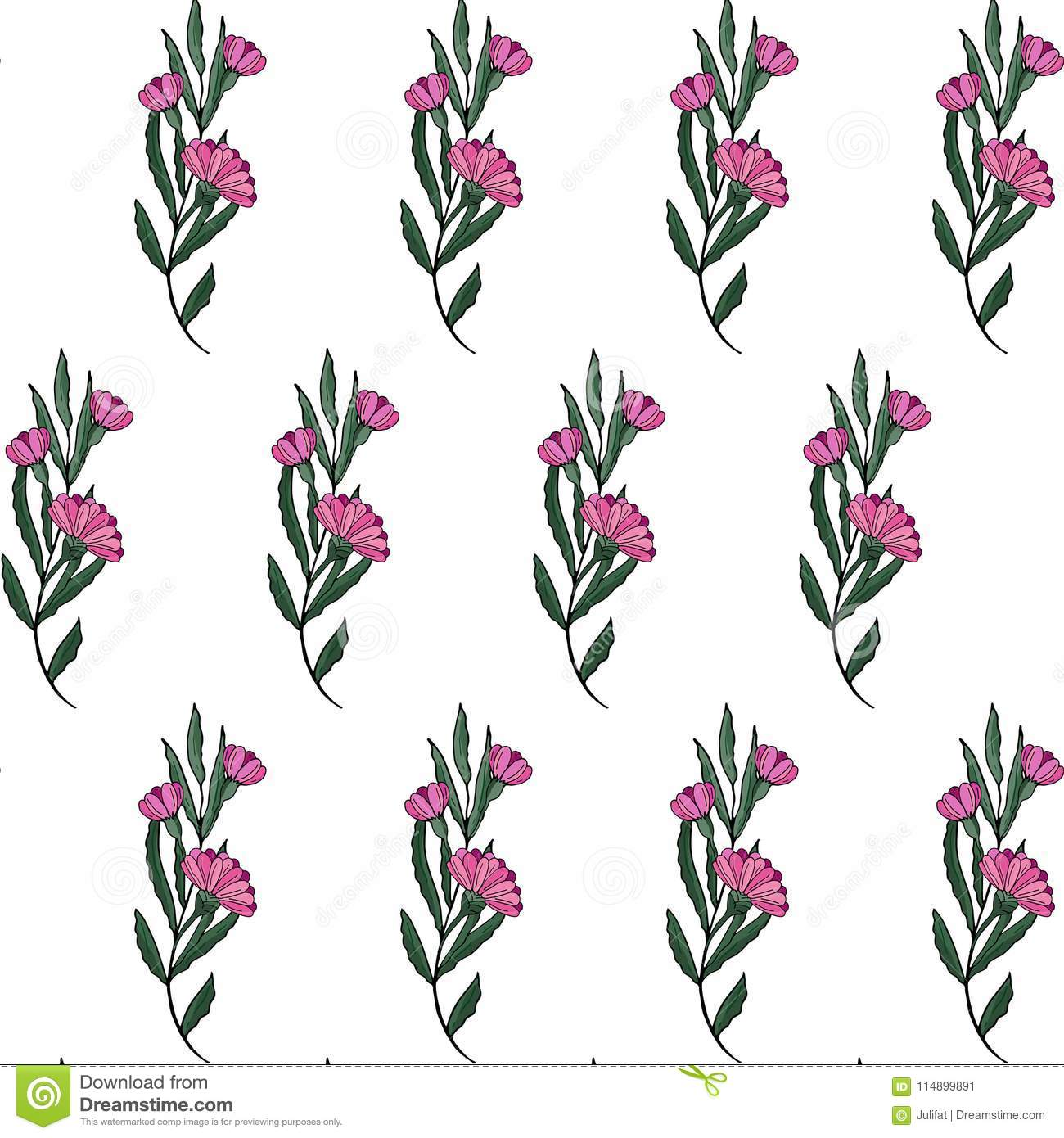 Seamless pattern. Cute pattern in small flower. Pink gerbera flowers. White background. Ditsy floral