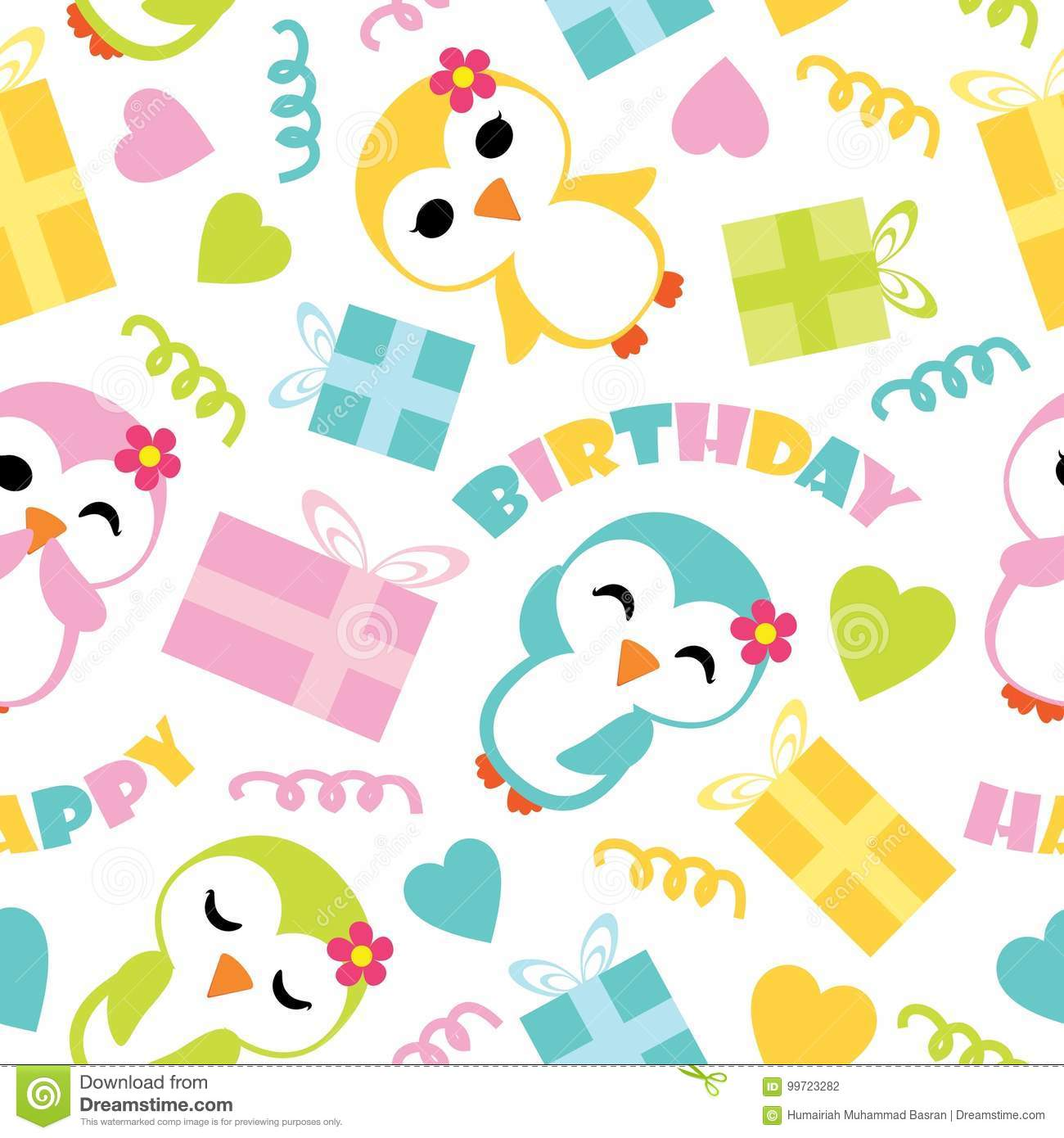 Seamless Pattern Of Cute Penguin Girls And Birthday Gift Boxes