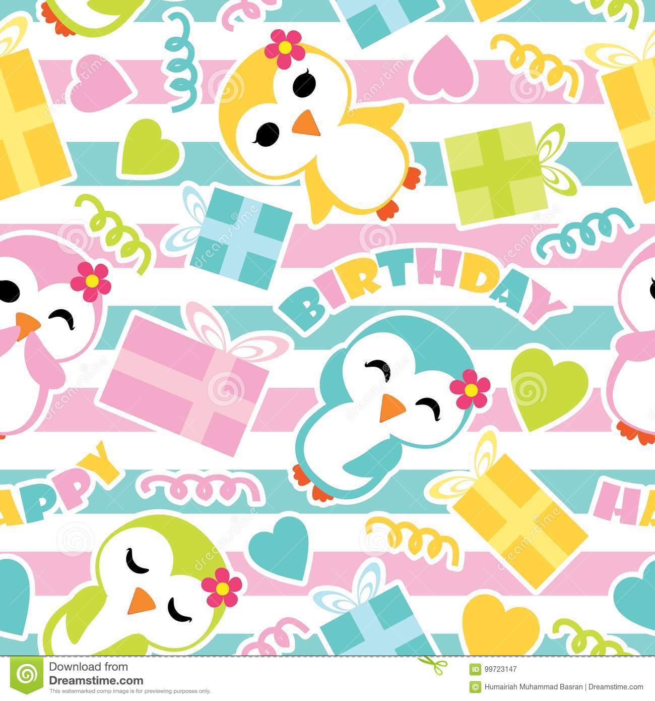 Seamless Pattern Of Cute Penguin Girls And Birthday Gift Boxes On