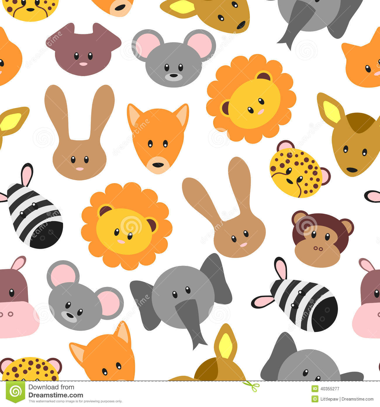 Seamless Pattern With Cute Pet And Wild Cartoon Animals