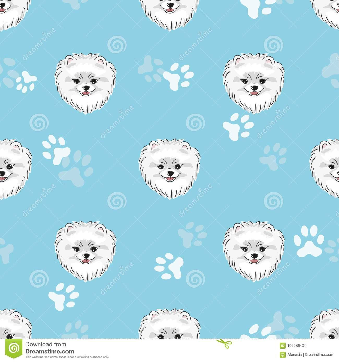 Seamless Pattern With Cute Pomeranian Puppy Stock Vector Illustration Of Cartoon Wallpaper 105986401