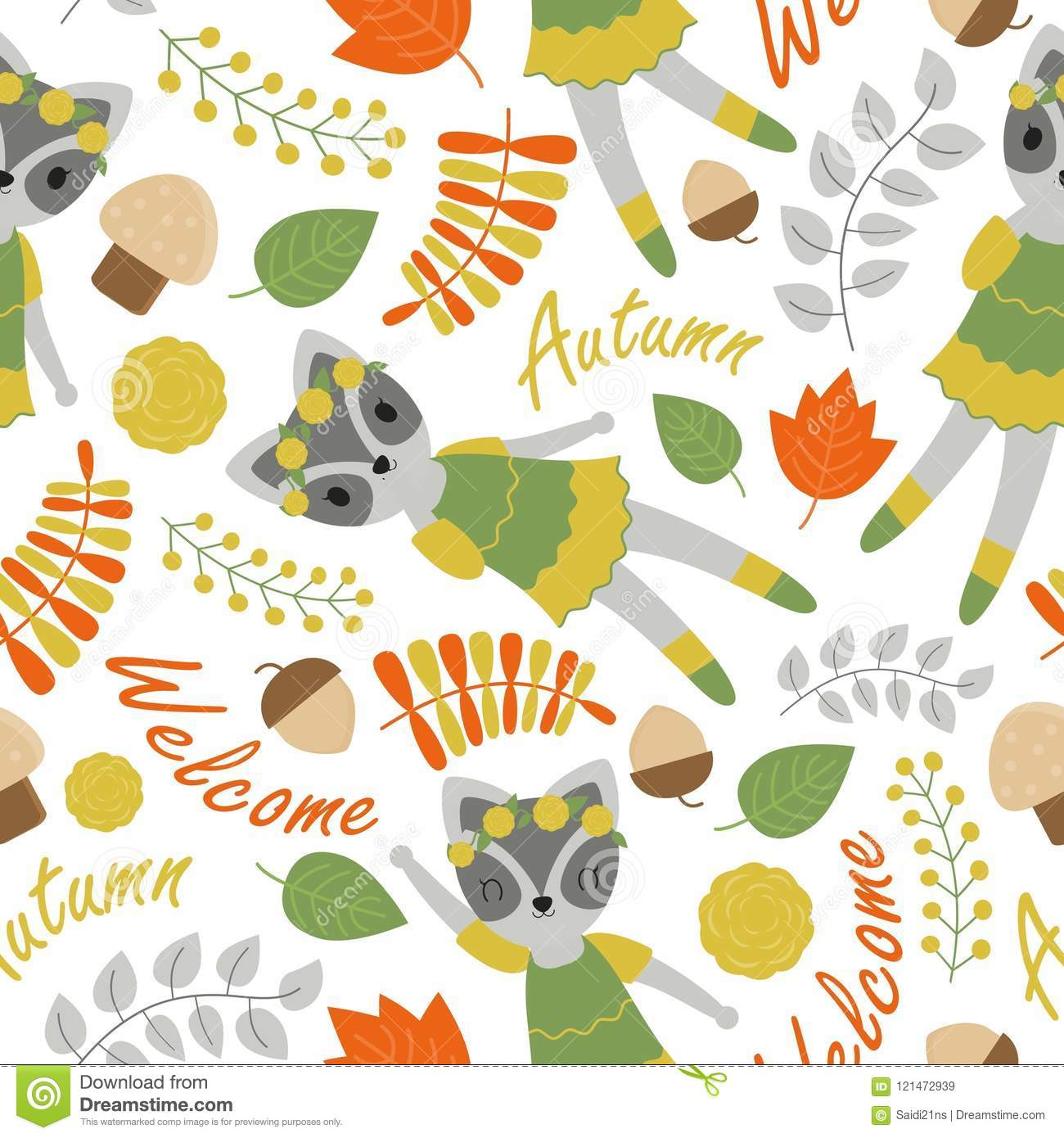 Pattern With Cute Raccoon And Flowers Vector Cartoon Suitable For