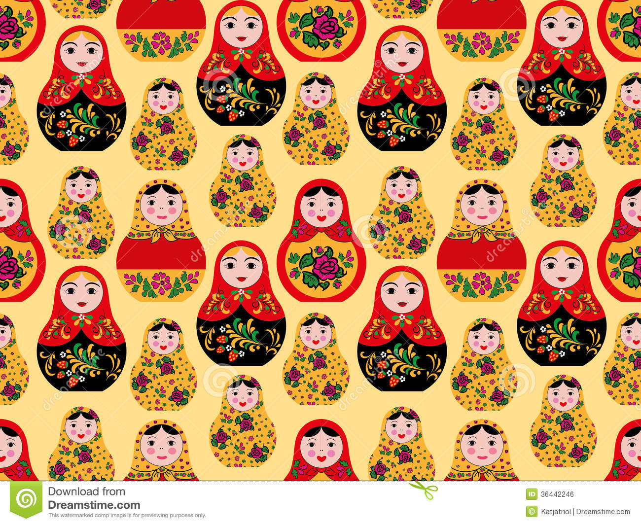 Seamless Pattern With Cute Russian Dolls Royalty Free Stock Image ...