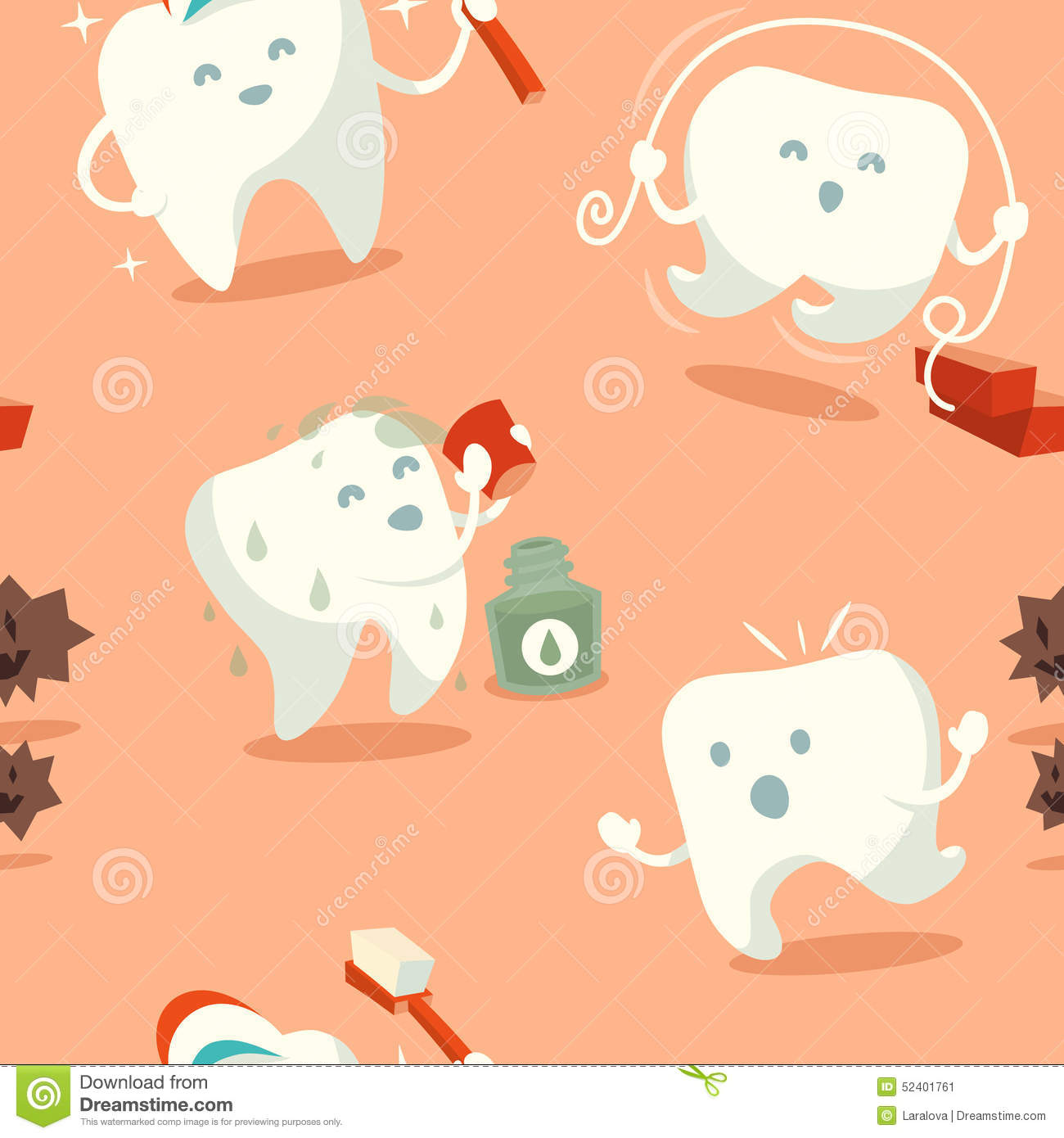 Seamless Pattern With Cute Tooth Stock Vector Illustration Of Mascot Floss 52401761