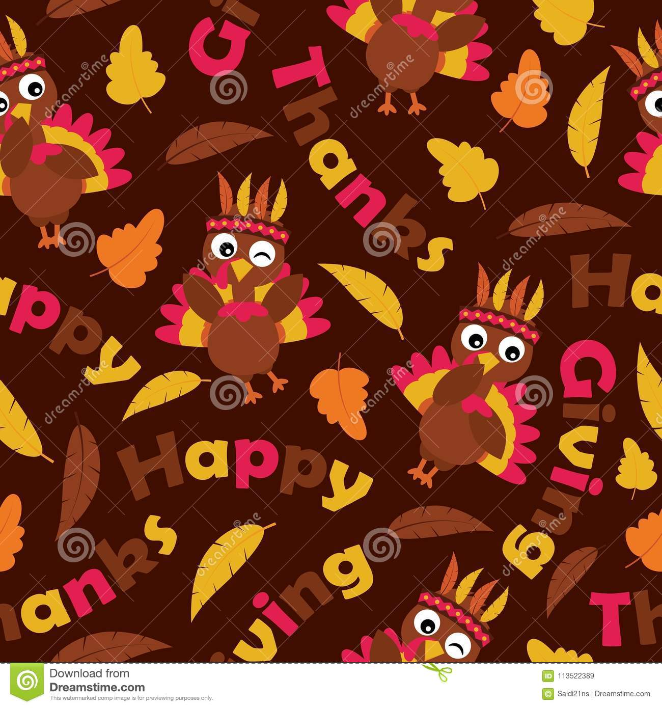 Download Cute Turkeys And Maple Leaves On Brown Background Vector Cartoon Suitable For Thanksgiving Wallpaper Stock