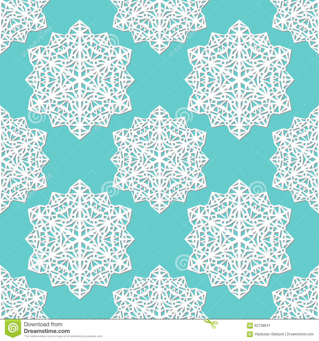seamless pattern of cutout paper abstract lacy snowflakes on blue