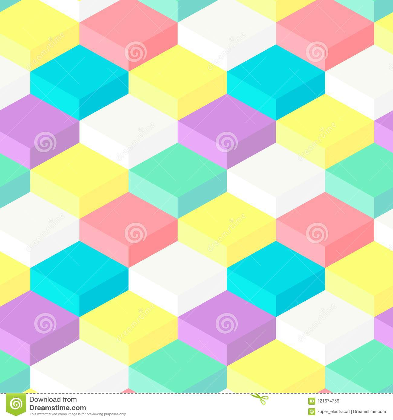 Seamless Pattern Of 3D Geometric Shapes Stock Vector - Illustration