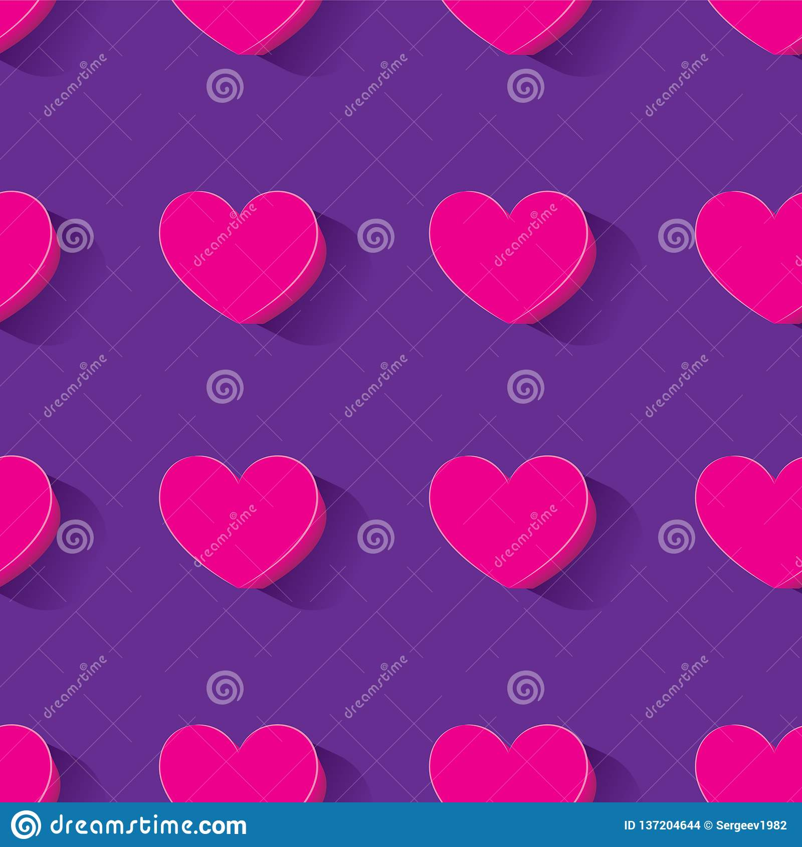 Seamless pattern with 3d hearts-vector image