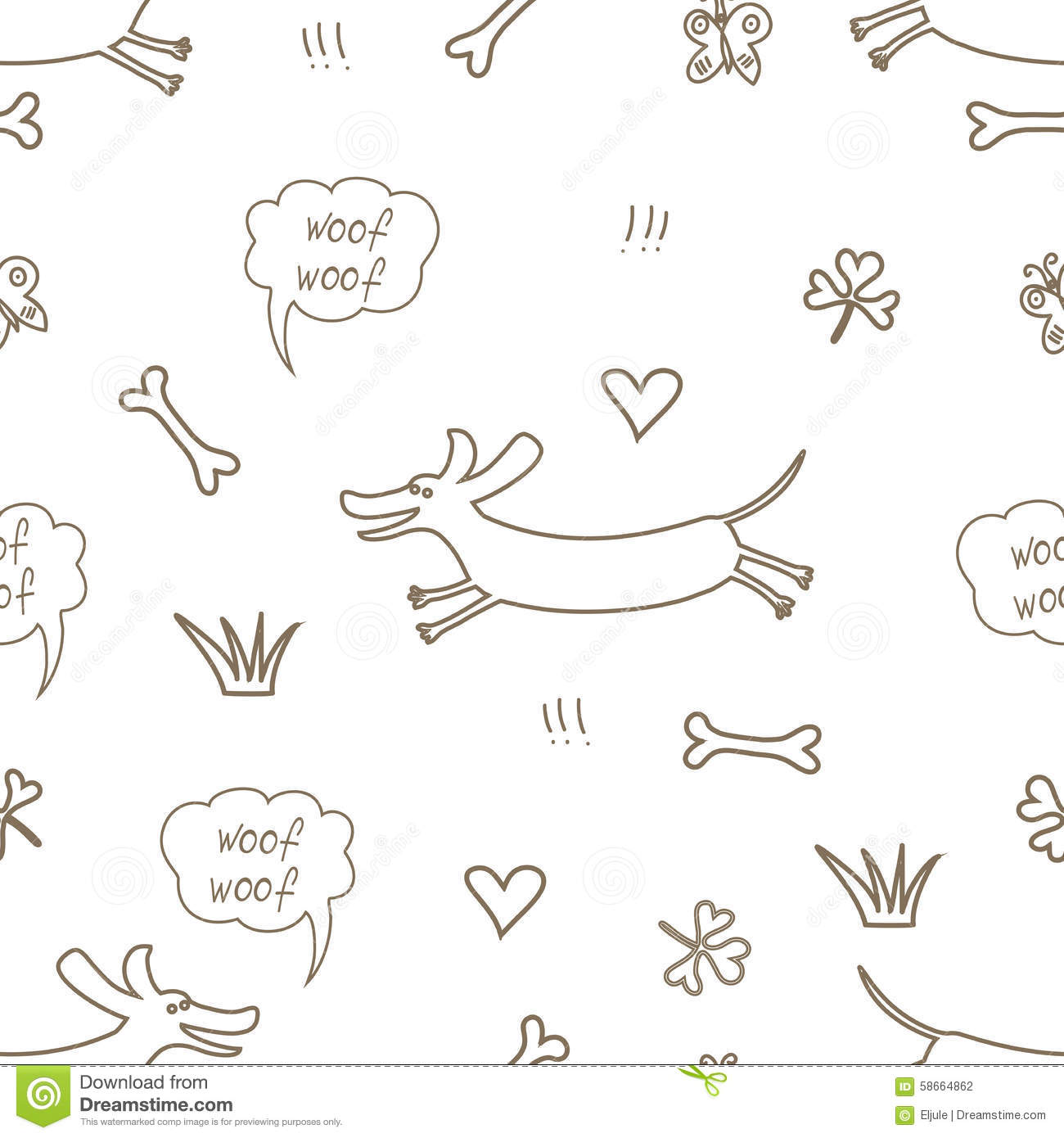Seamless Pattern With The Dachshund Stock Vector - Illustration of animal, illustration: 58664862