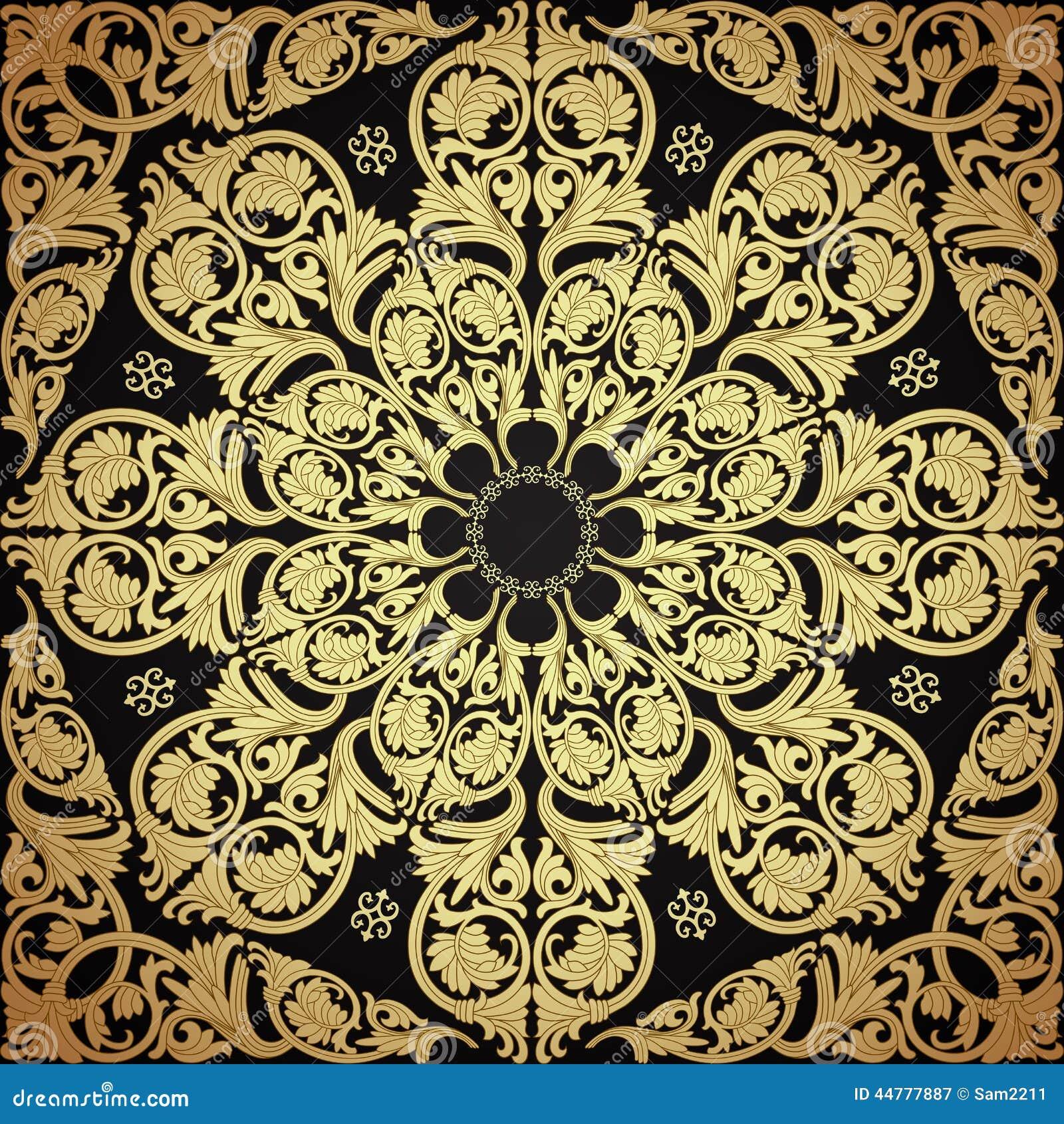 seamless pattern damask motif wallpaper stock vector. Black Bedroom Furniture Sets. Home Design Ideas