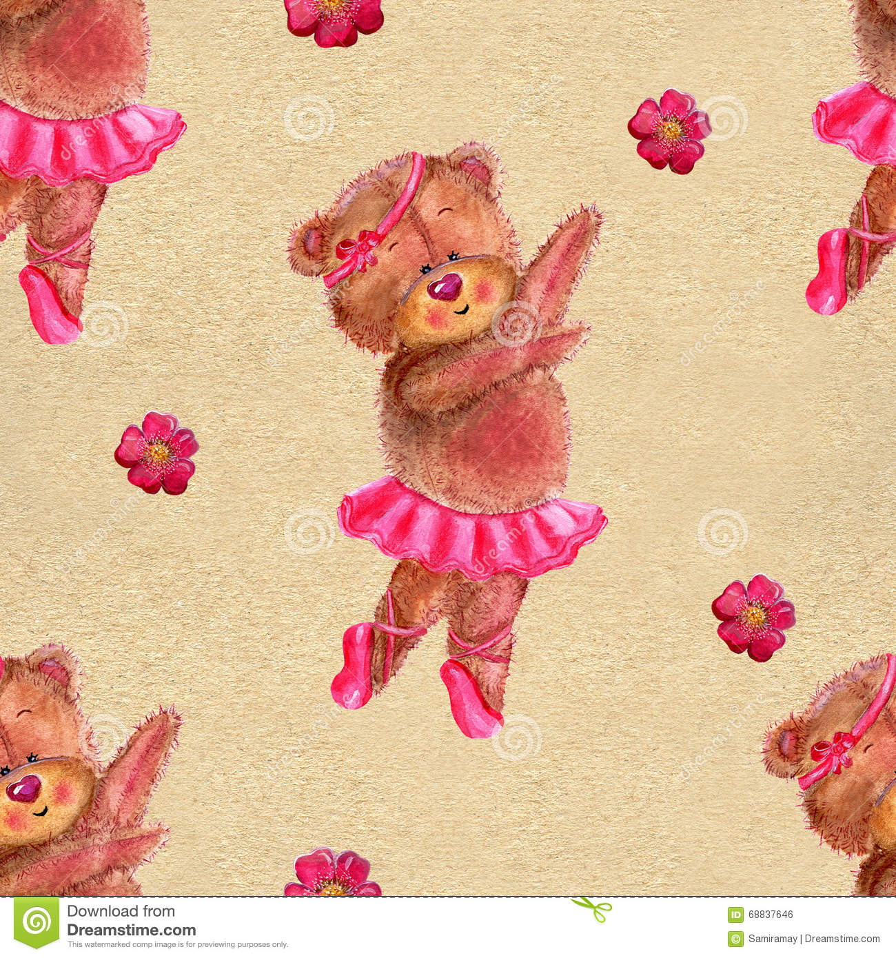 Seamless pattern of ballet dancers royalty free stock photography - Seamless Pattern With Dancing Bear In Ballet Tutu Royalty Free Stock Image