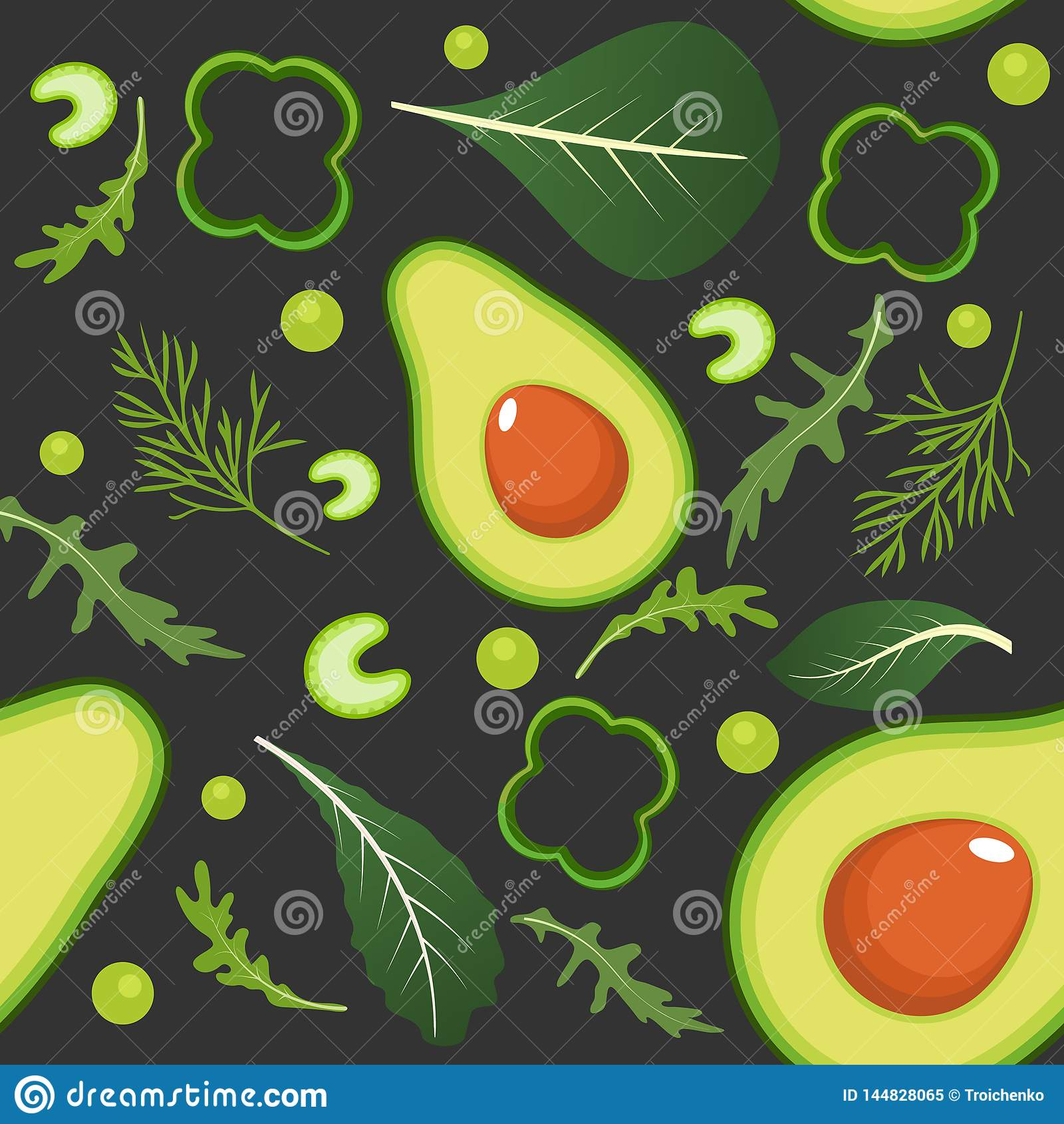 Seamless pattern on dark background with green vegetables. Avocado, paprika, green peas, celery, spinach, arugula and