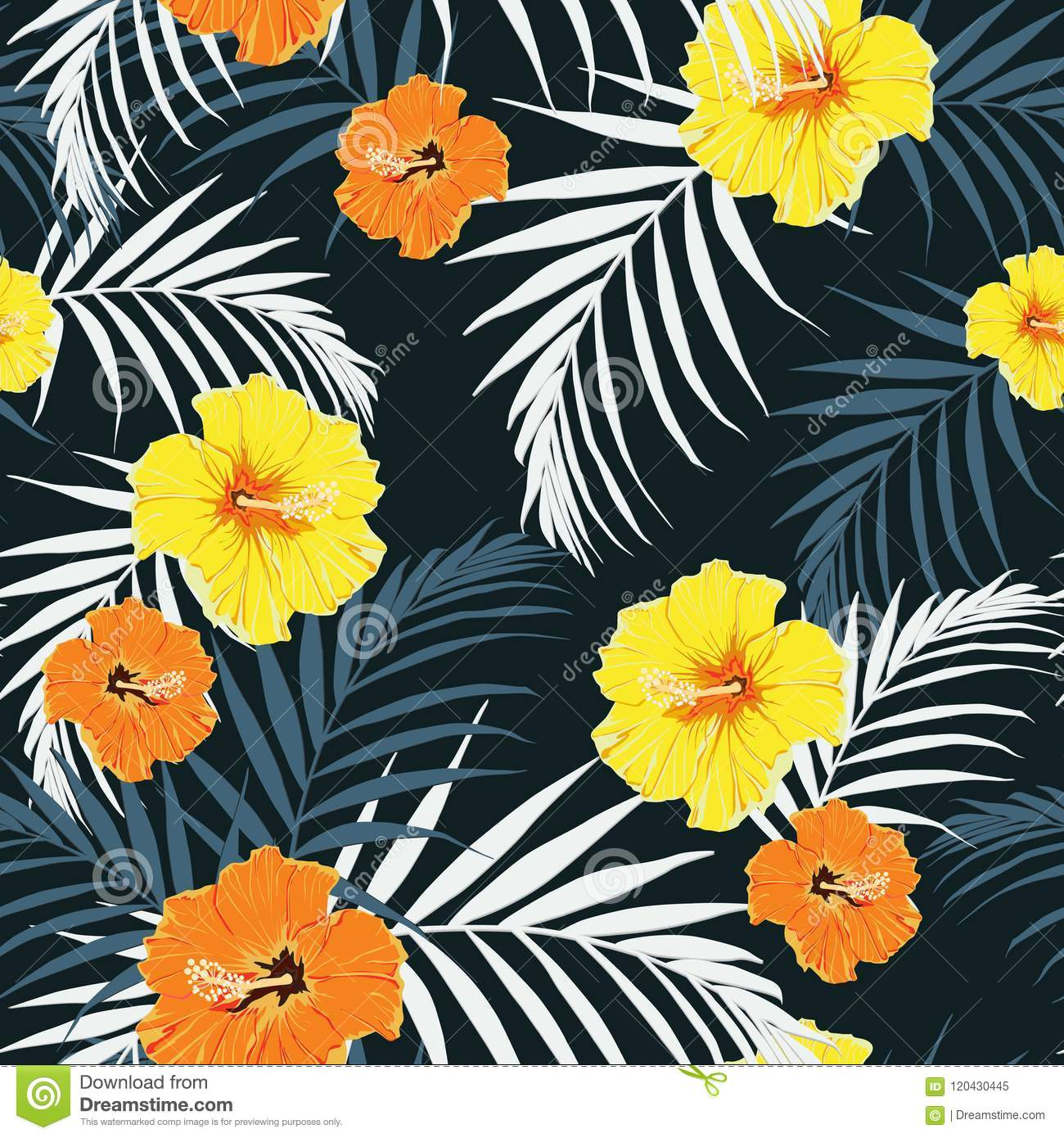 Seamless Pattern, Dark Vintage Colors, Palm Leaves and Yellow ...