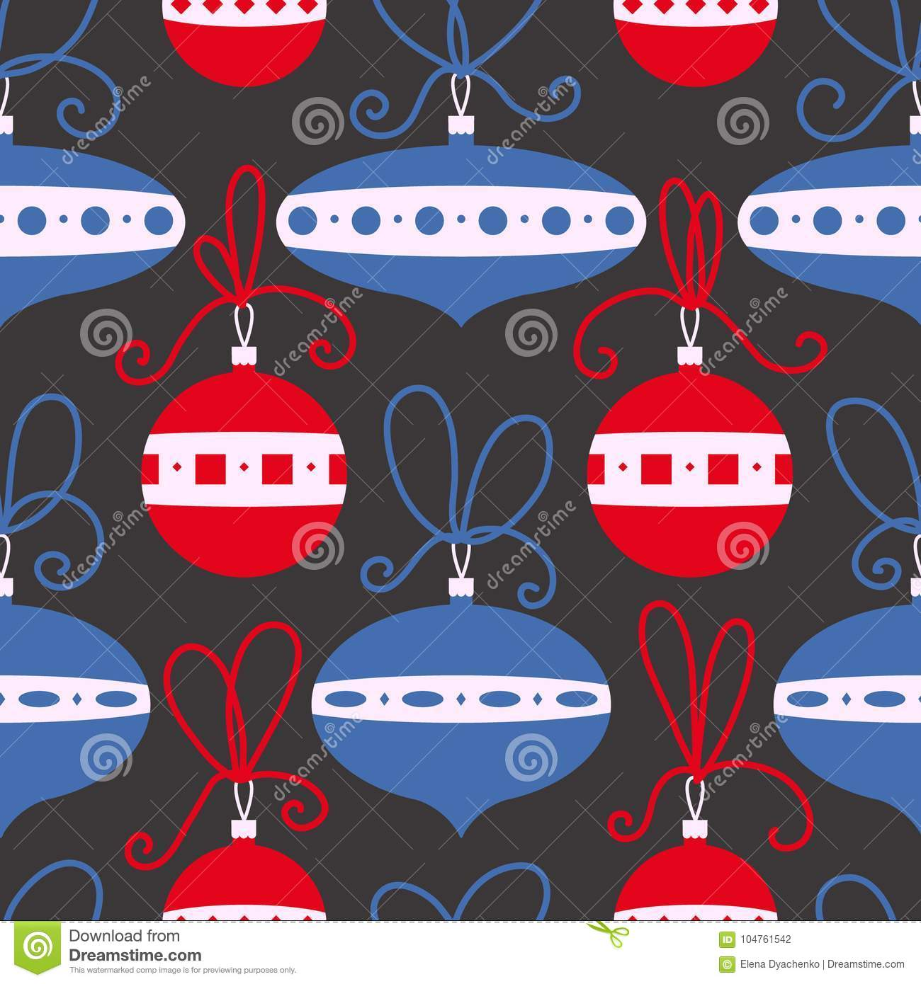 Seamless pattern with decoration balls. Christmas background.