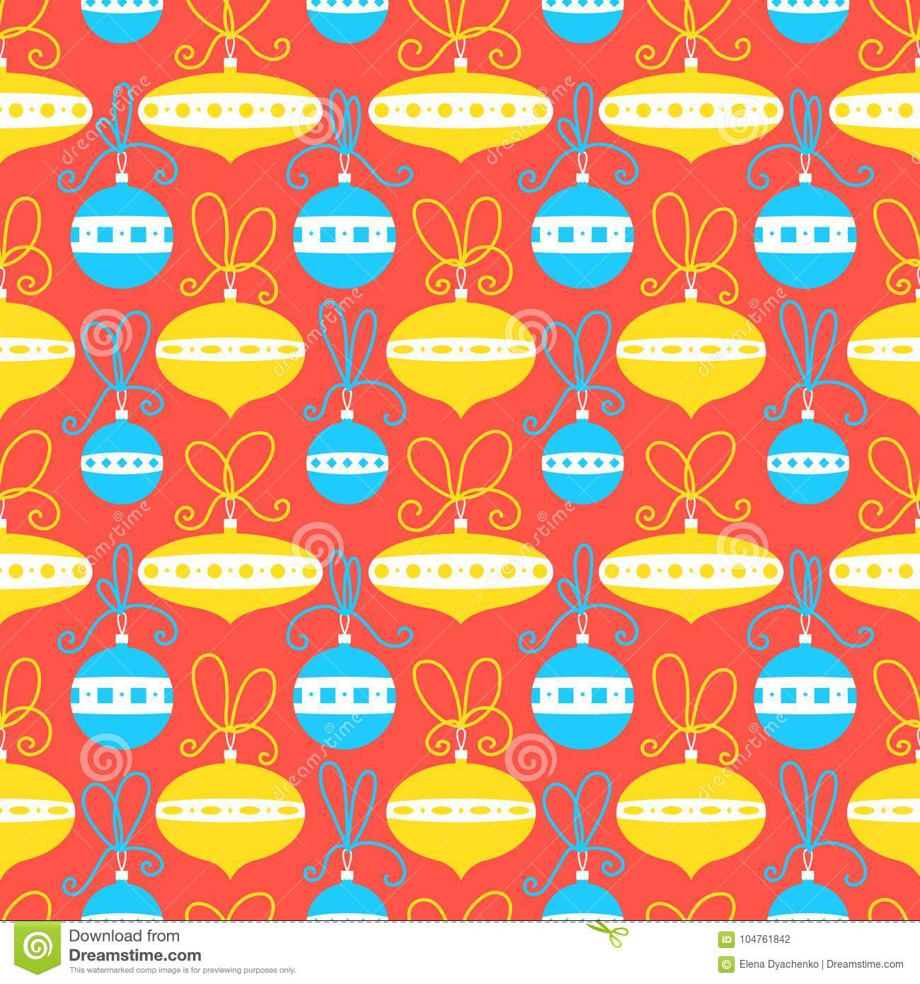 Seamless pattern with decoration balls. Christmas background. Ve