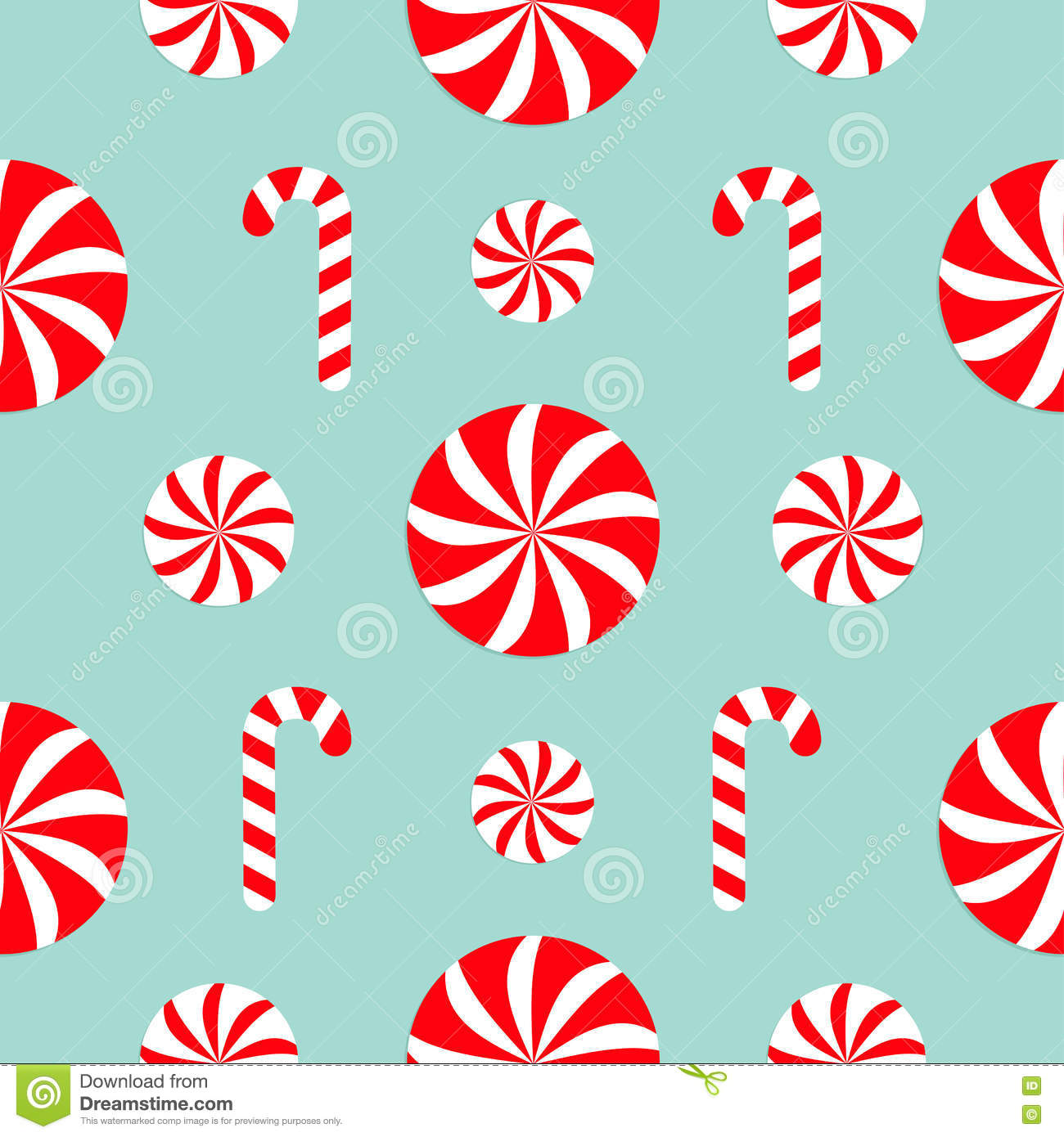 seamless pattern decoration christmas candy cane round white and