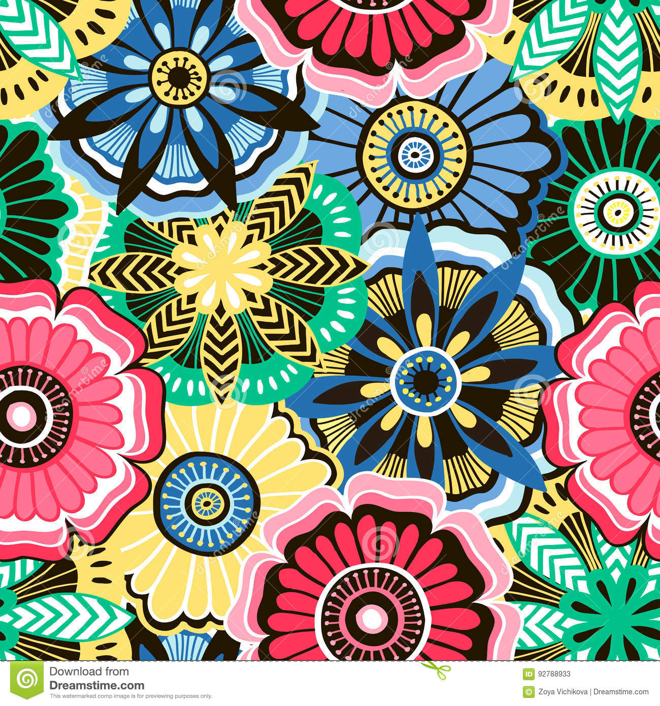 Seamless pattern from decorative bright flowers
