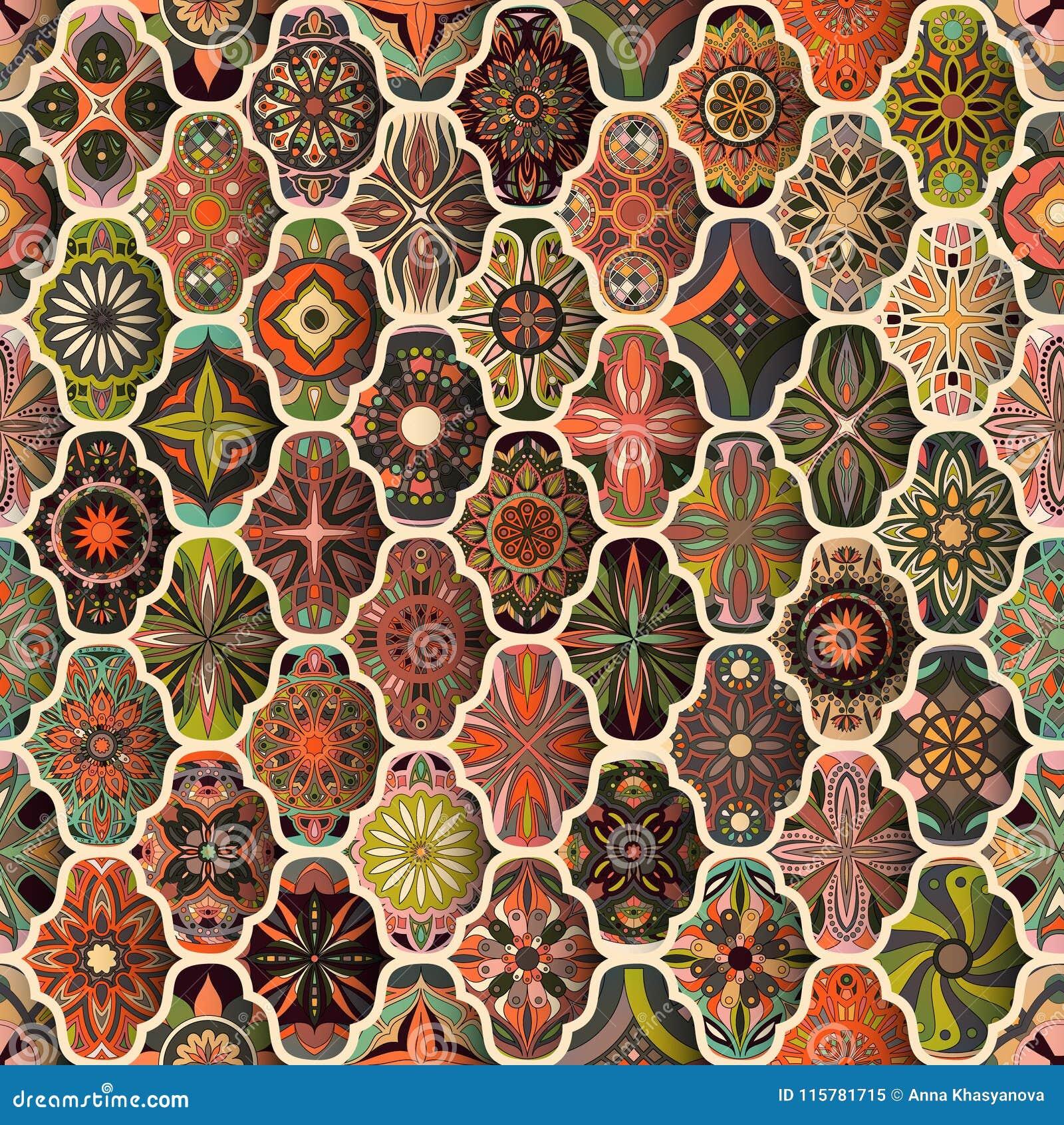 Seamless Pattern With Decorative Mandalas. Vintage Mandala Elements ...