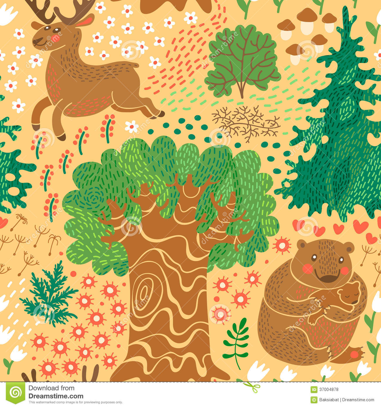 Seamless Pattern With Deer Bears In The Woods Stock Vector