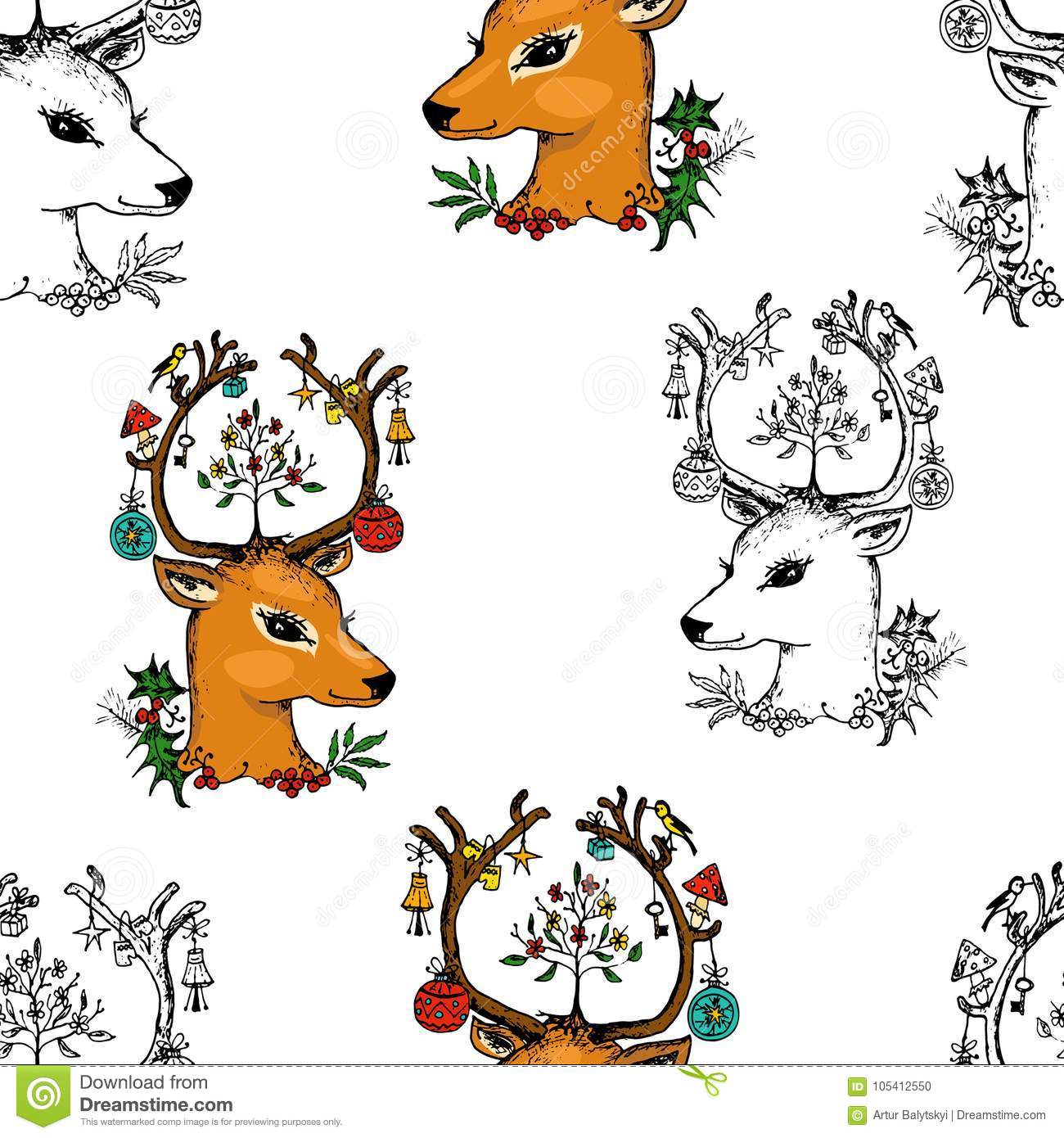 Seamless Pattern Deer And Christmas Animals. New Year. Winter ...