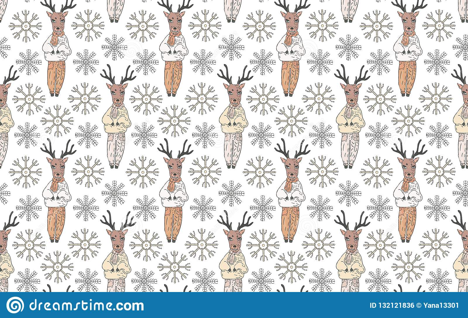 Seamless pattern. Deer in clothes and snowflakes on a white background.