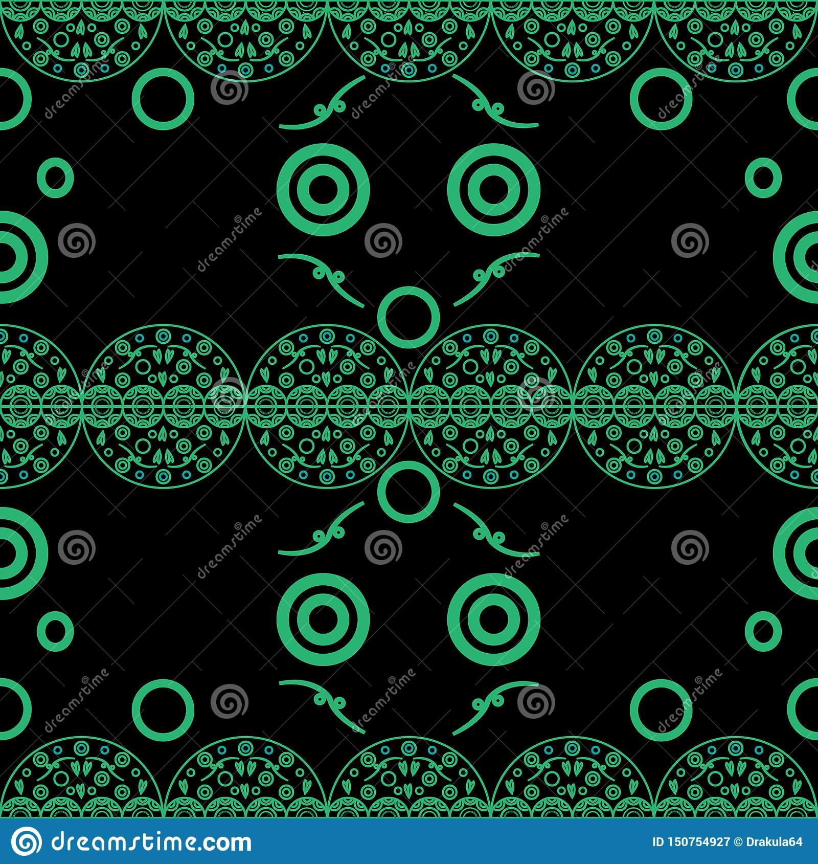Seamless pattern delicate openwork circles green on black